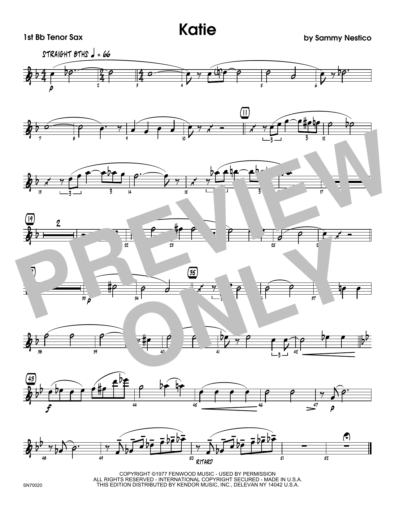 Katie - 1st Tenor Saxophone Sheet Music
