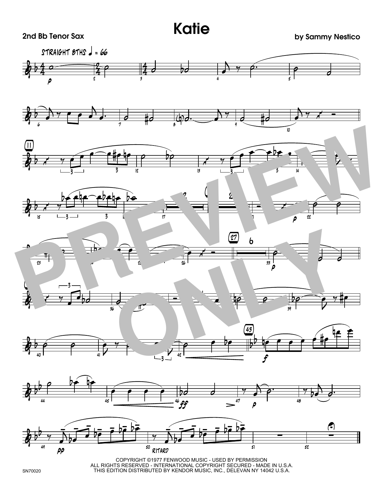 Katie - 2nd Bb Tenor Saxophone Sheet Music