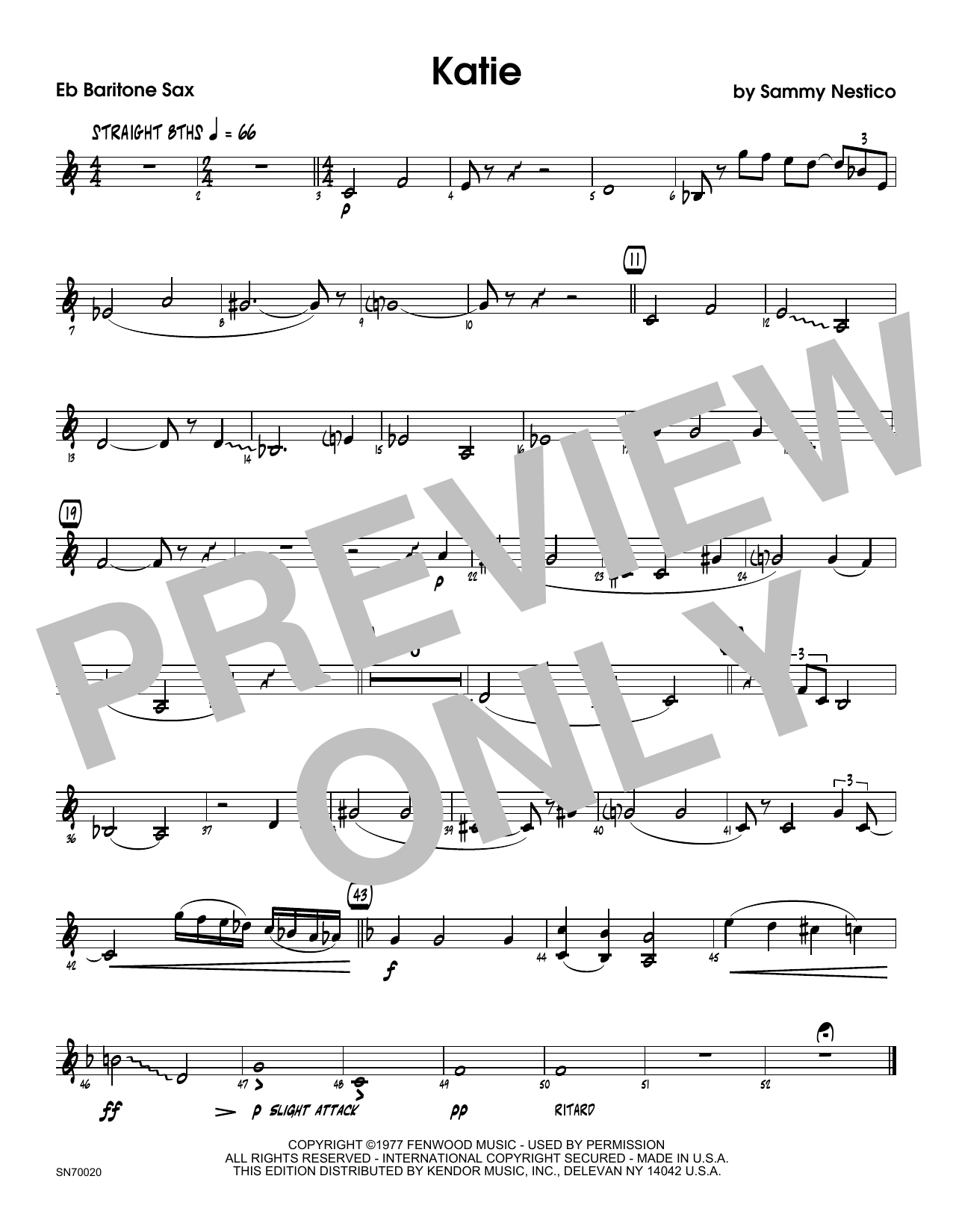 Katie - Eb Baritone Saxophone Sheet Music