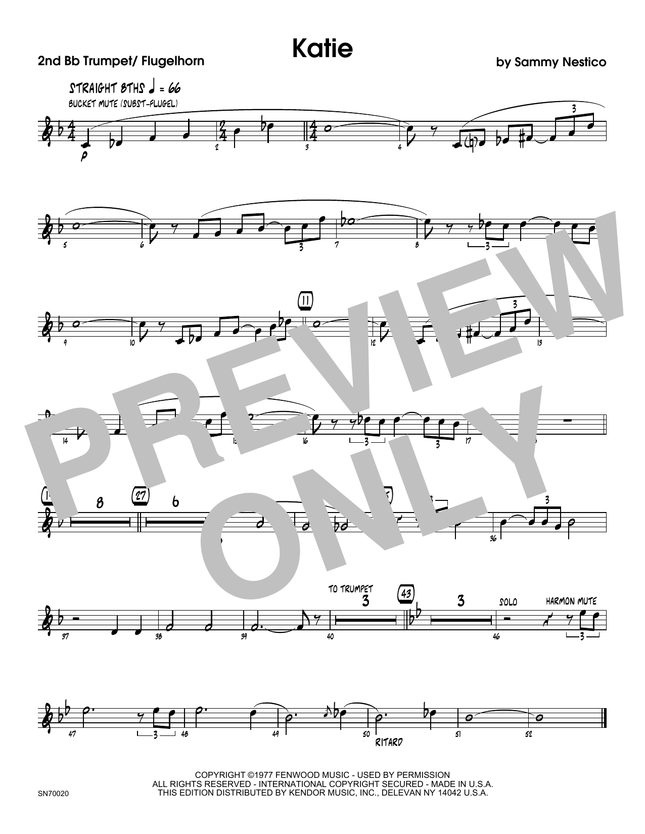 Katie - 2nd Bb Trumpet Sheet Music