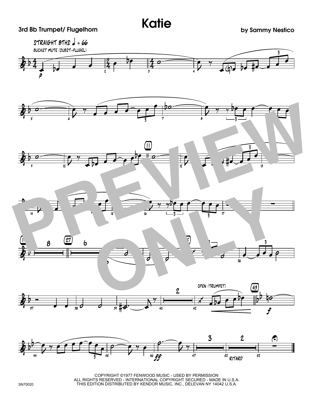 Katie - 3rd Bb Trumpet Sheet Music