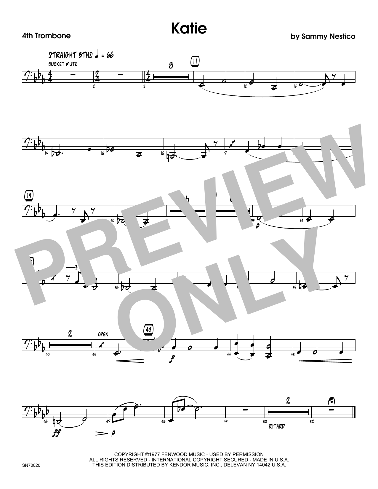 Katie - 4th Trombone Sheet Music