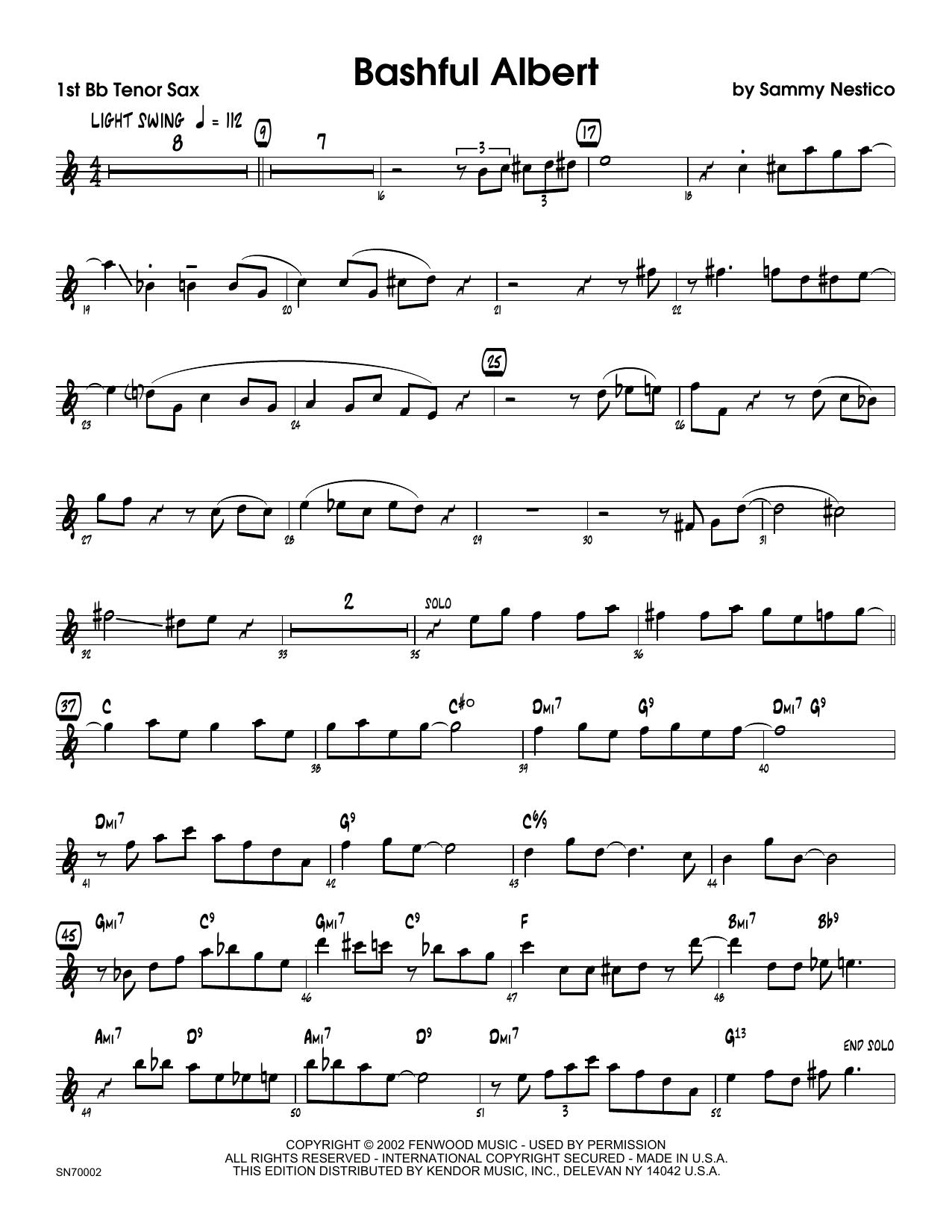 Bashful Albert - 1st Tenor Saxophone Sheet Music