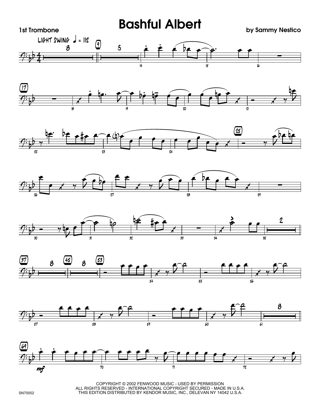 Bashful Albert - 1st Trombone Sheet Music