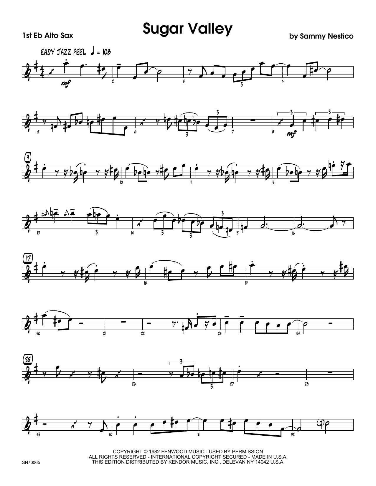 Sugar Valley - 1st Eb Alto Saxophone Sheet Music