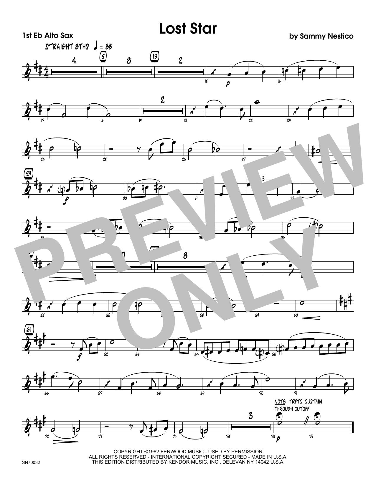 Lost Star - 1st Eb Alto Saxophone Sheet Music