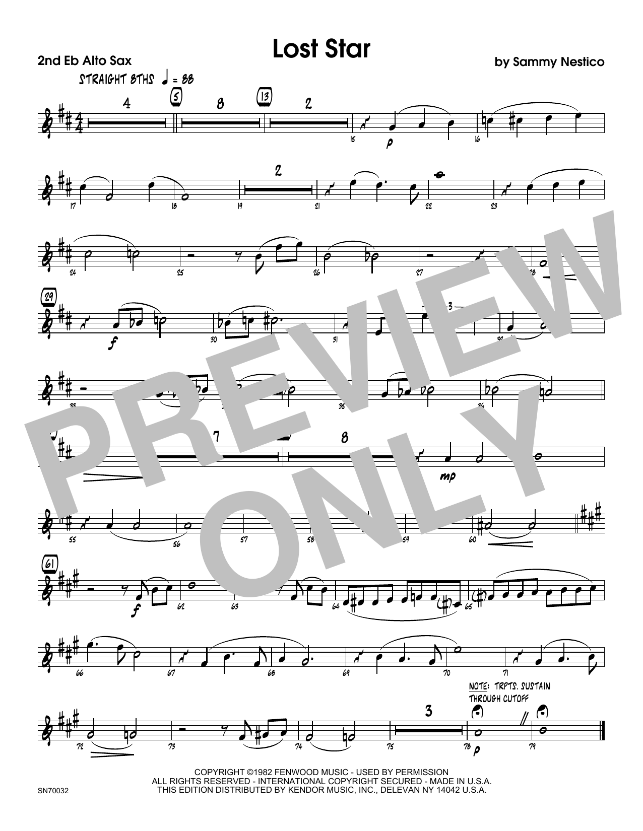 Lost Star - 2nd Eb Alto Saxophone Sheet Music