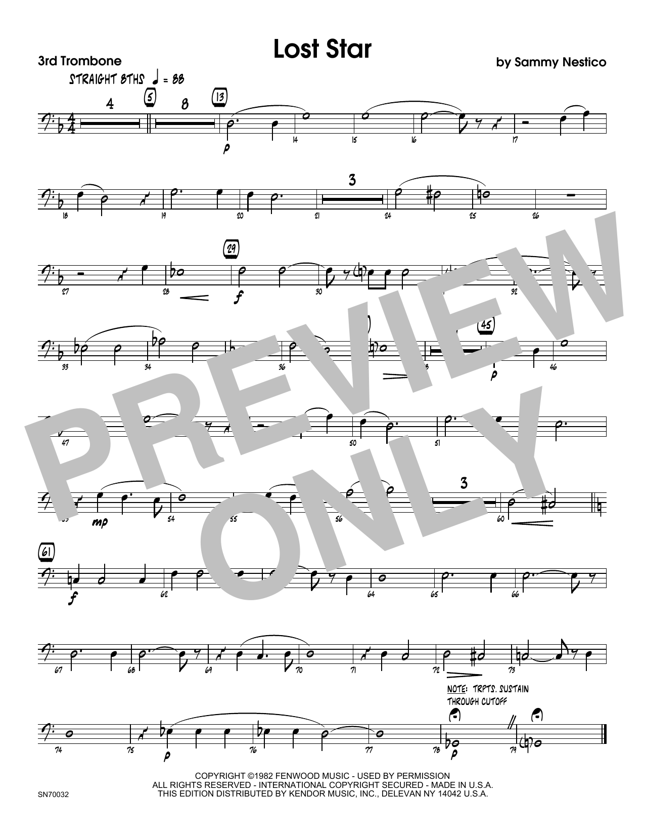 Lost Star - 3rd Trombone Sheet Music