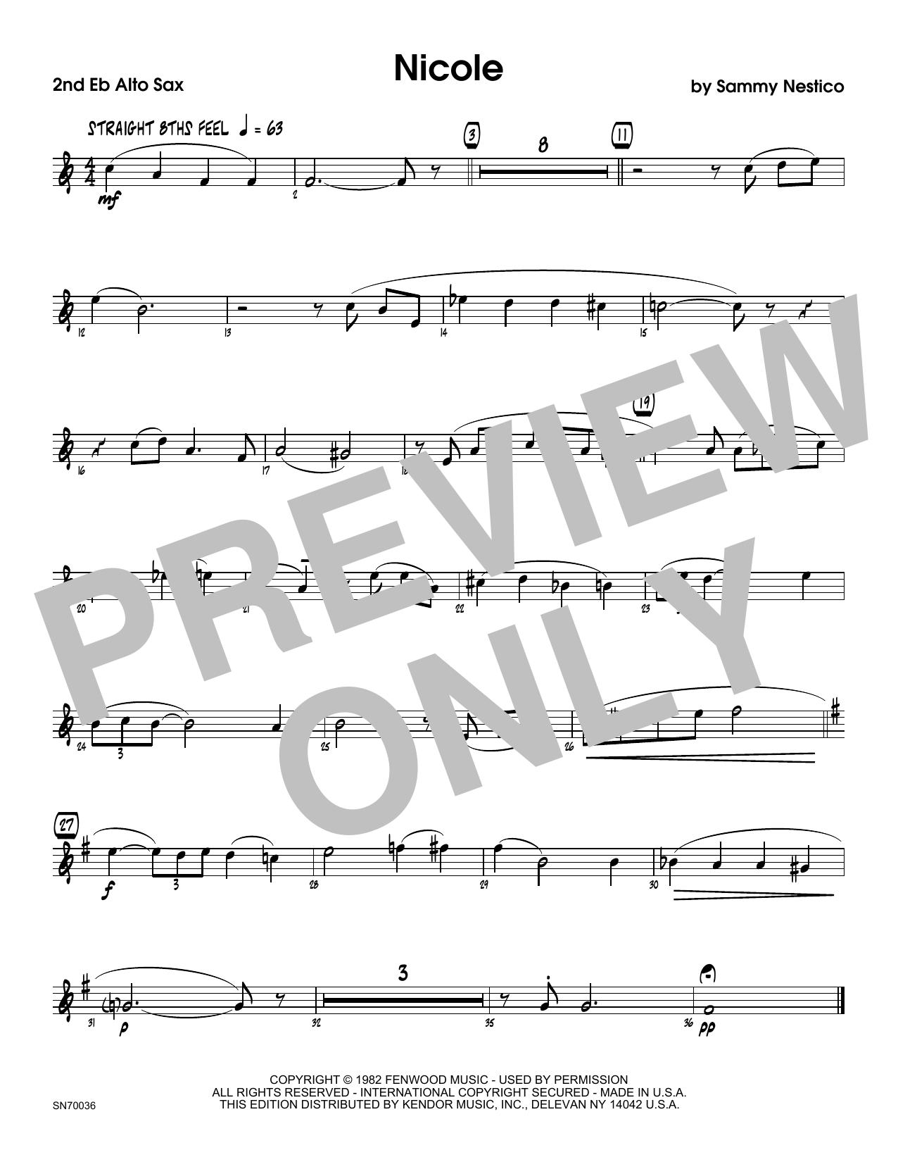 Nicole - 2nd Eb Alto Saxophone Sheet Music