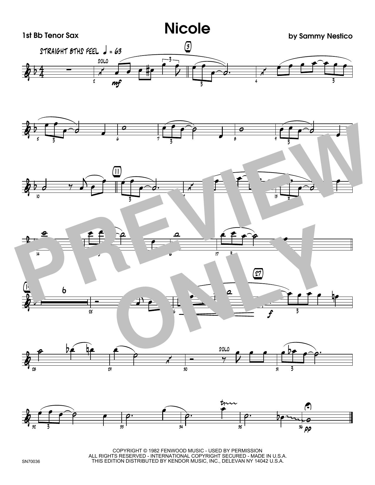 Nicole - 1st Tenor Saxophone Sheet Music