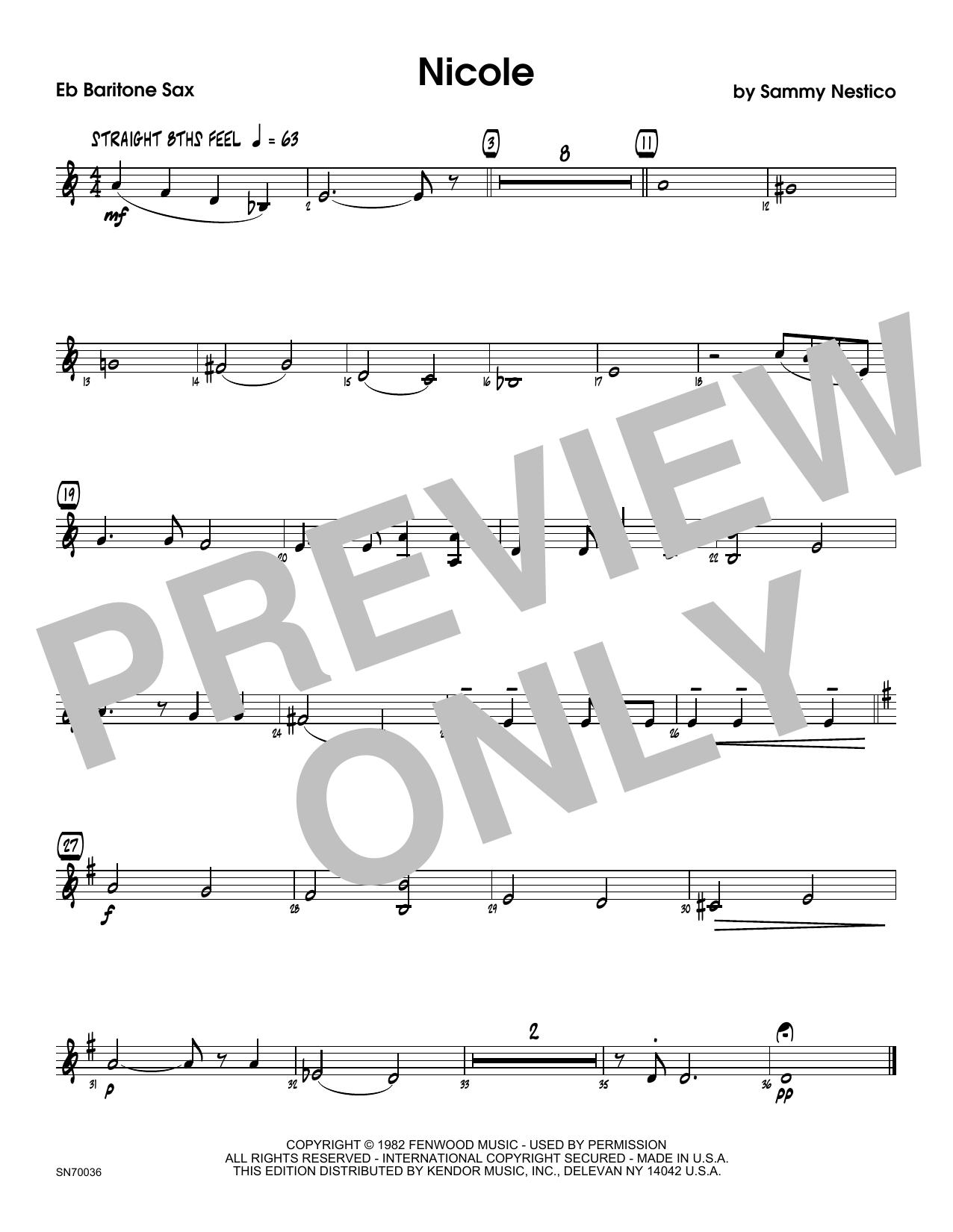 Nicole - Eb Baritone Saxophone Sheet Music