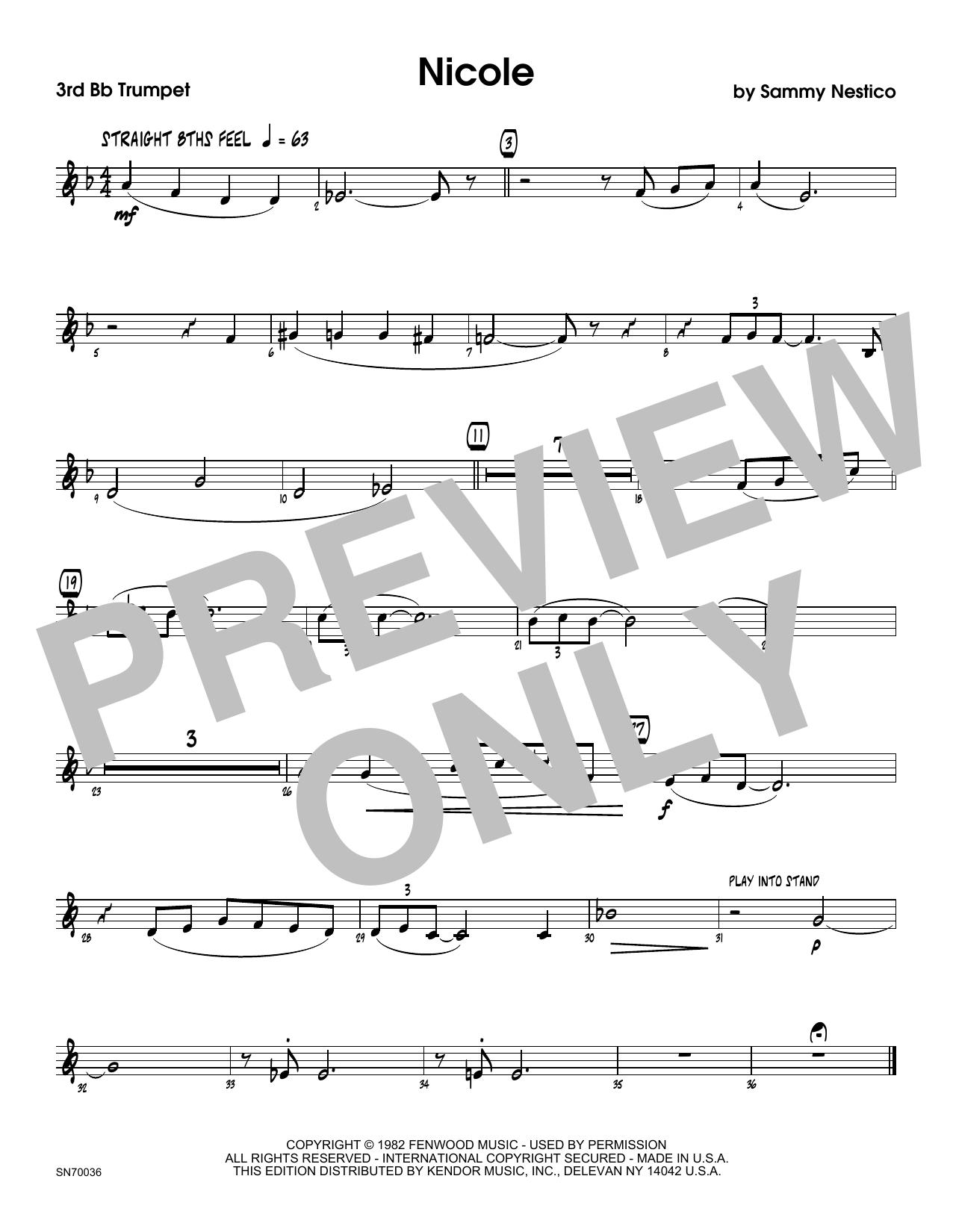 Nicole - 3rd Bb Trumpet Sheet Music