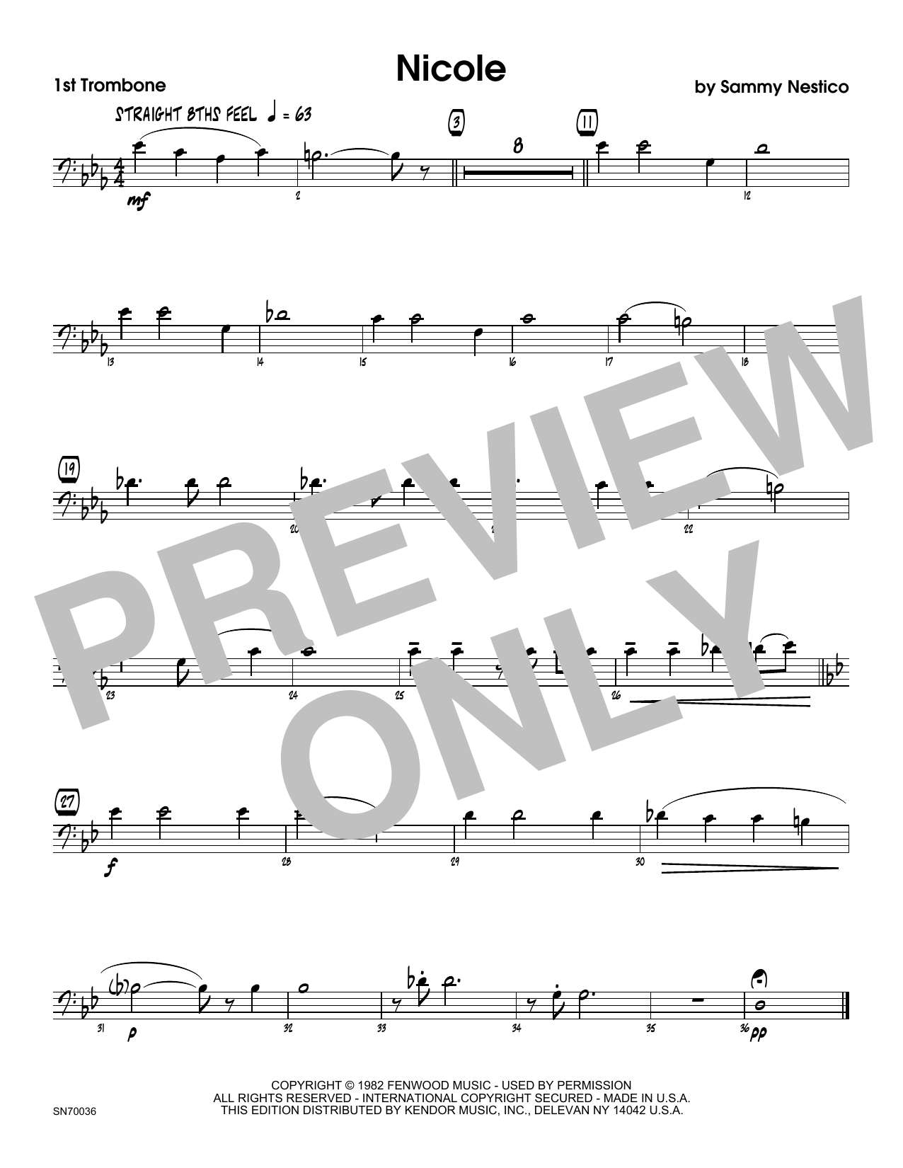 Nicole - 1st Trombone Sheet Music