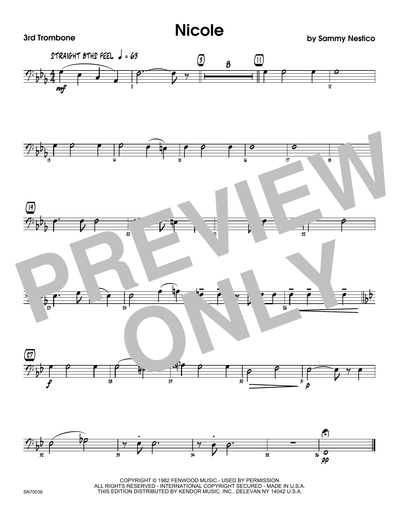 Nicole - 3rd Trombone Sheet Music