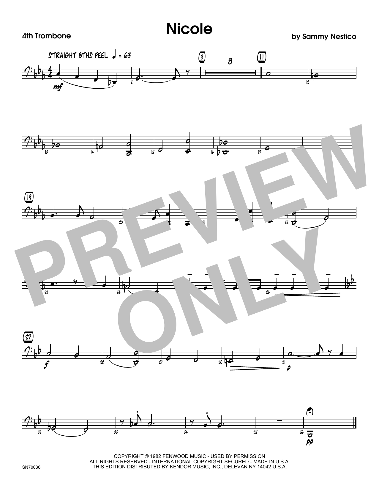 Nicole - 4th Trombone Sheet Music