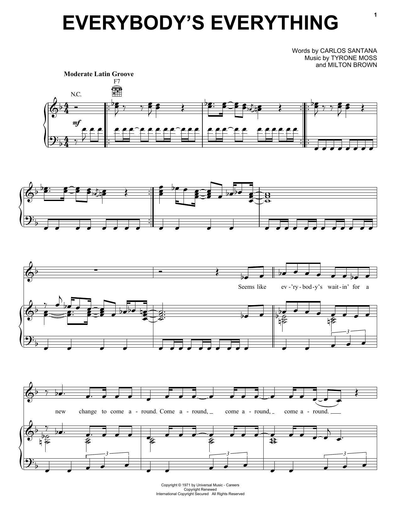 Partition piano Everybody's Everything de Santana - Piano Voix Guitare (Mélodie Main Droite)