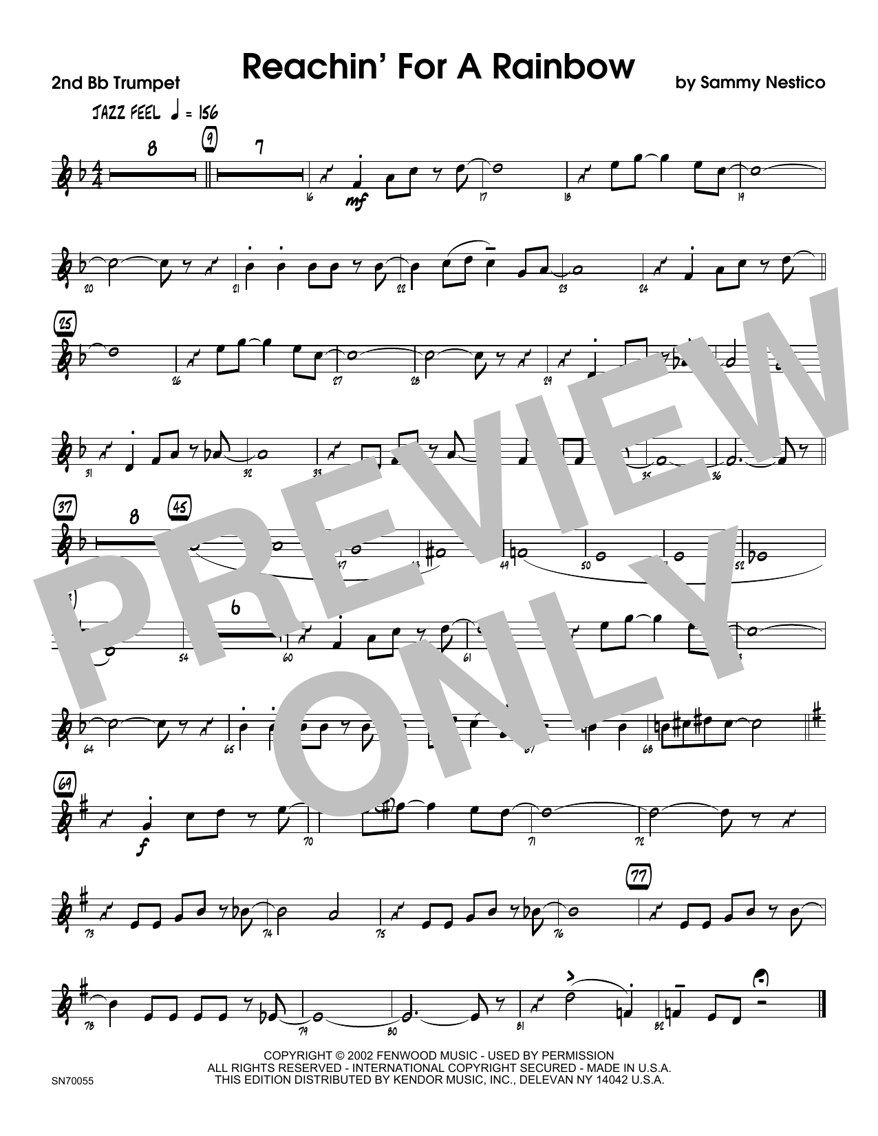Reachin' For A Rainbow - 2nd Bb Trumpet Sheet Music