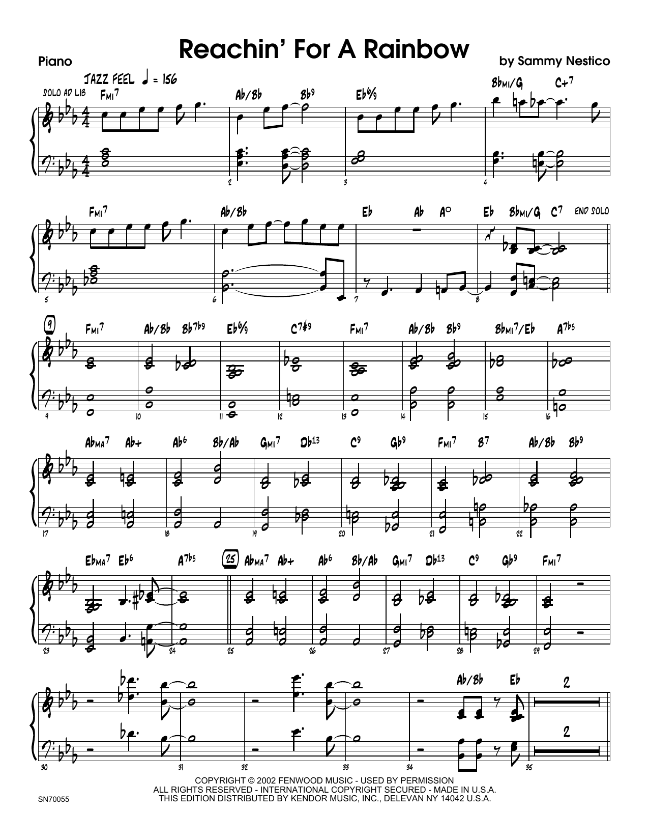 Reachin' For A Rainbow - Piano Sheet Music