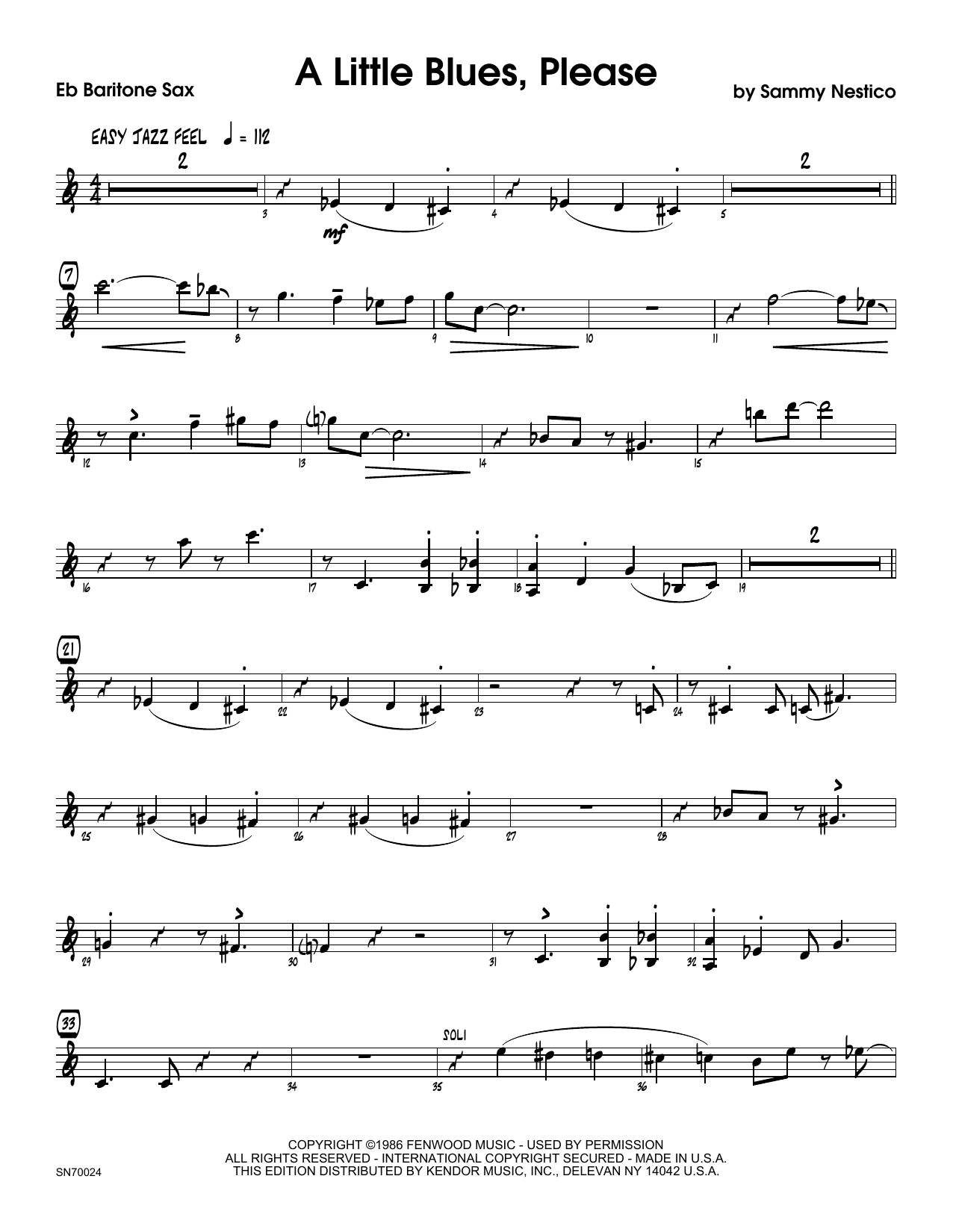 A Little Blues, Please - Eb Baritone Saxophone Sheet Music
