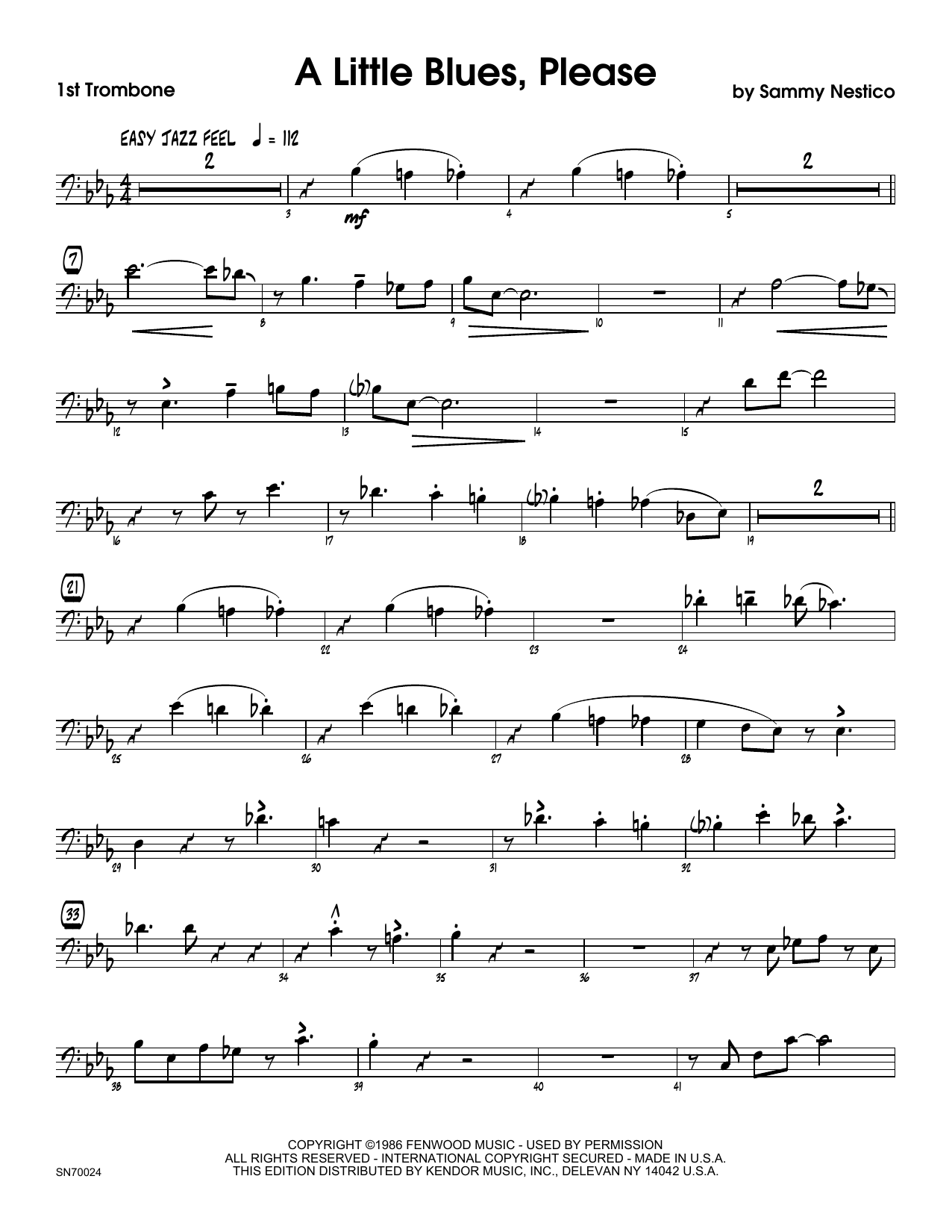 A Little Blues, Please - 1st Trombone Sheet Music