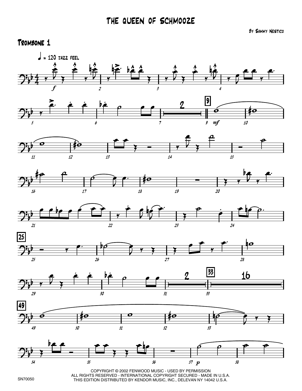 The Queen Of Schmooze - 1st Trombone Sheet Music