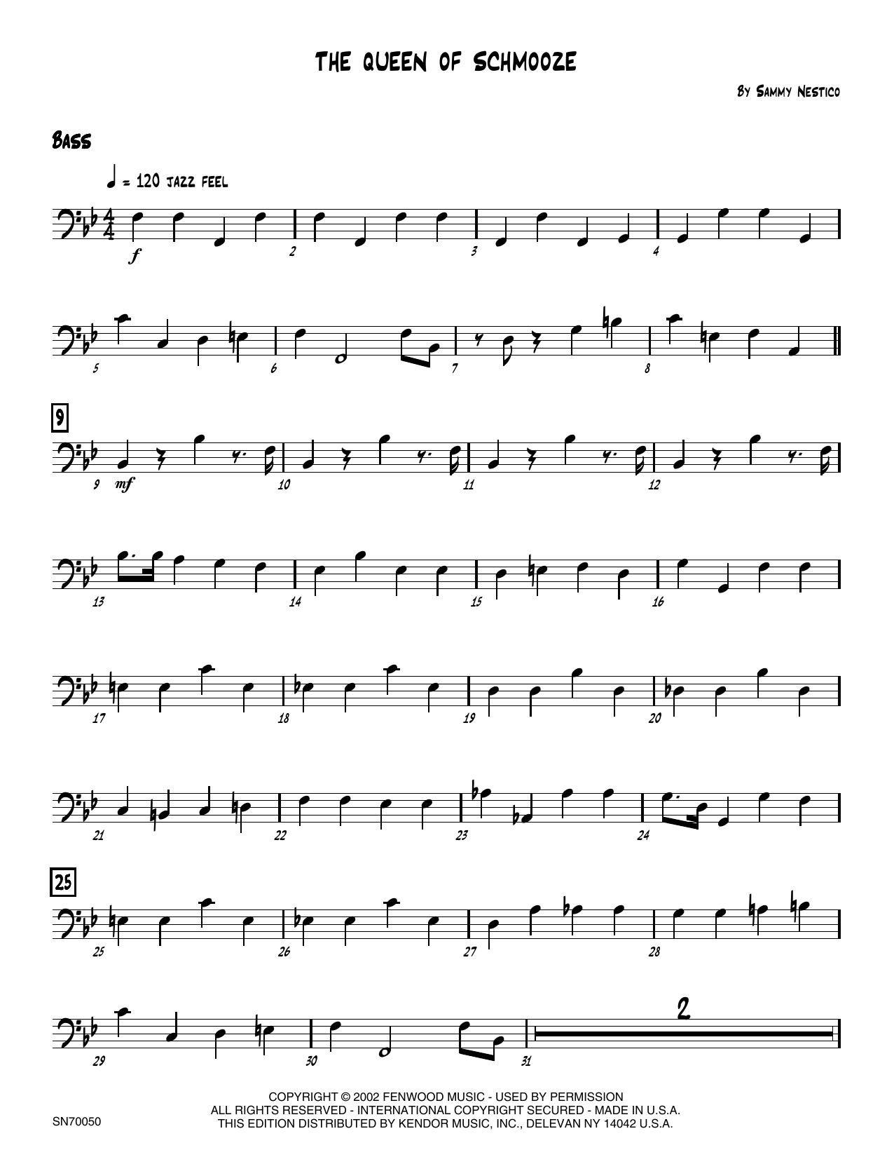 The Queen Of Schmooze - Bass Sheet Music