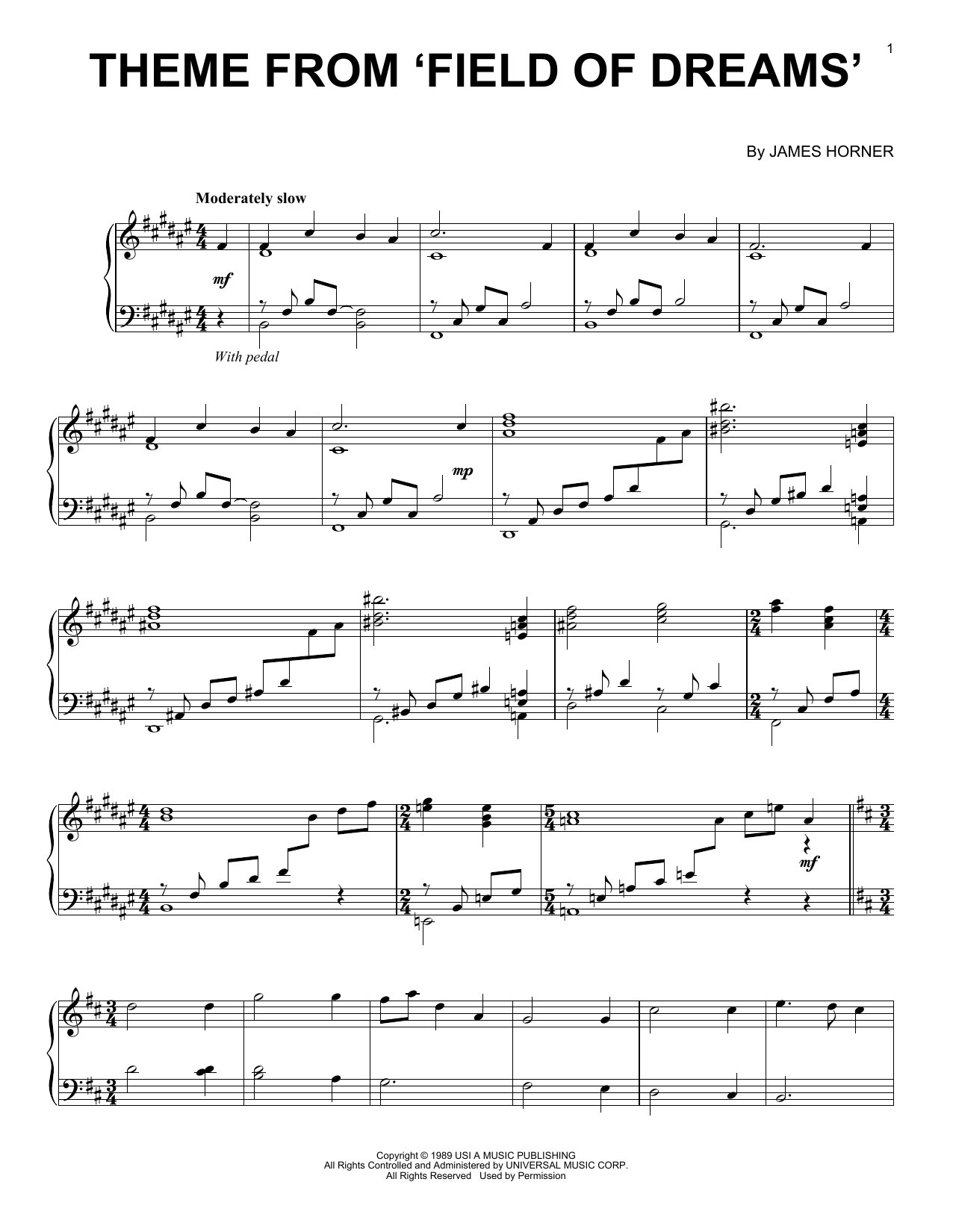 page one of Theme From Field Of DreamsASALTTEXT