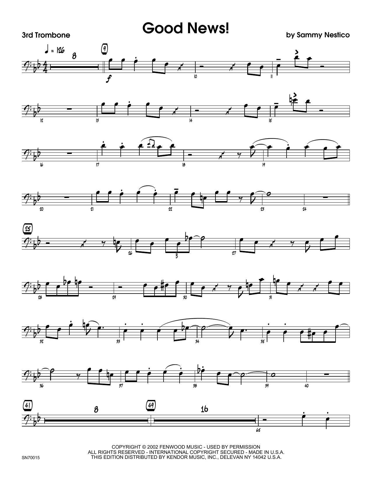 Good News! - 3rd Trombone Sheet Music