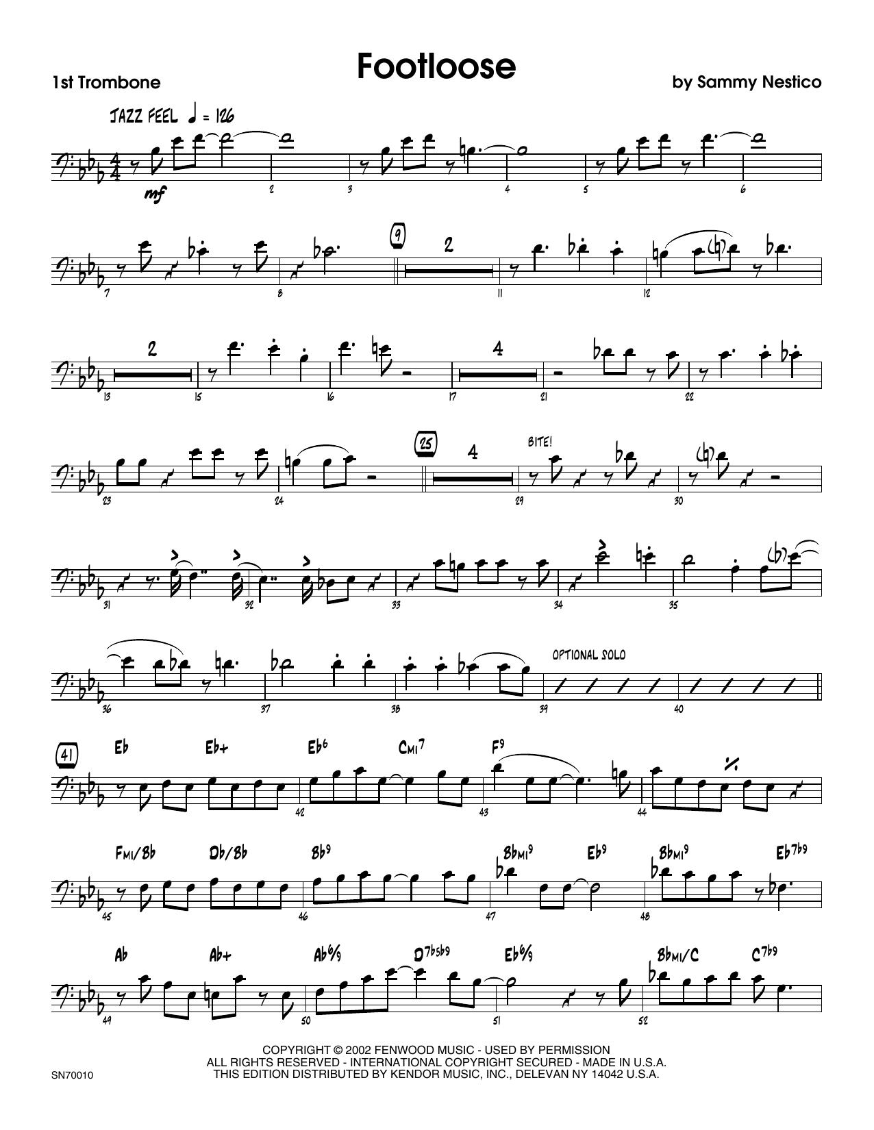 Footloose - 1st Trombone Sheet Music
