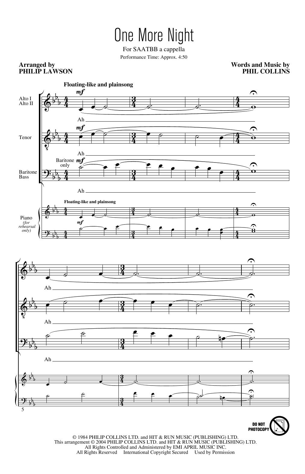 One More Night (arr. Philip Lawson) (SATB Choir)