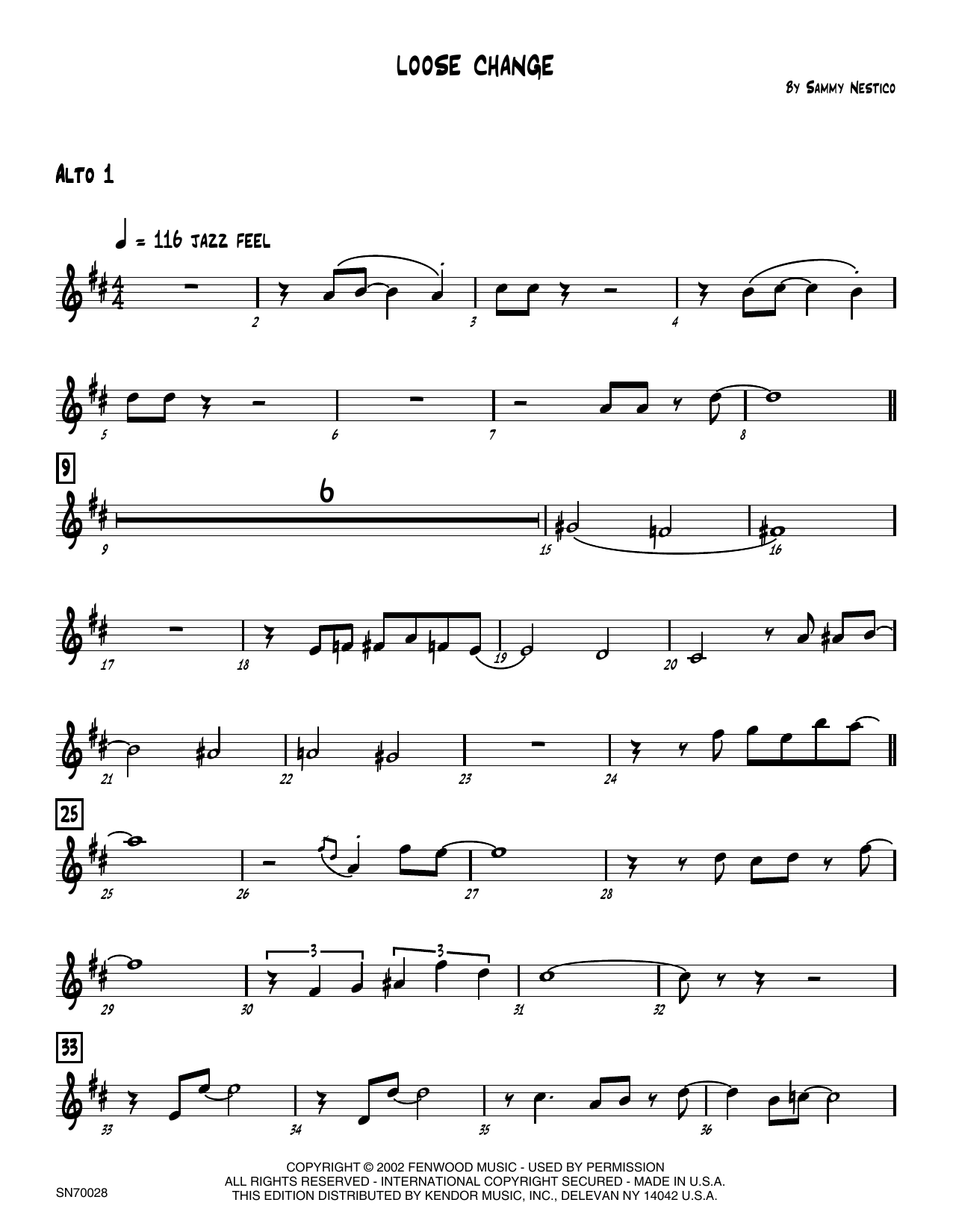 Loose Change - 1st Eb Alto Saxophone Sheet Music