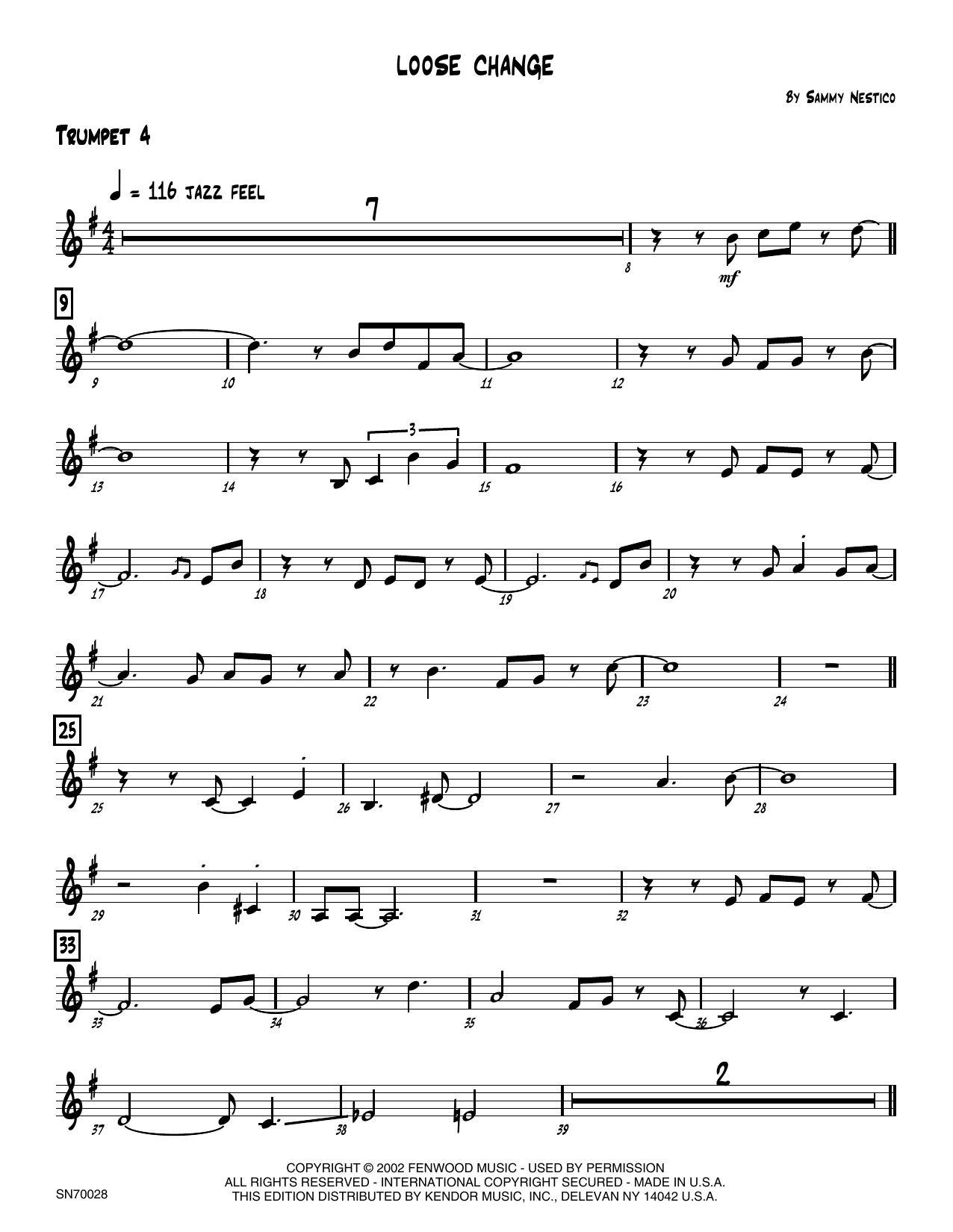 Loose Change - 4th Bb Trumpet Sheet Music