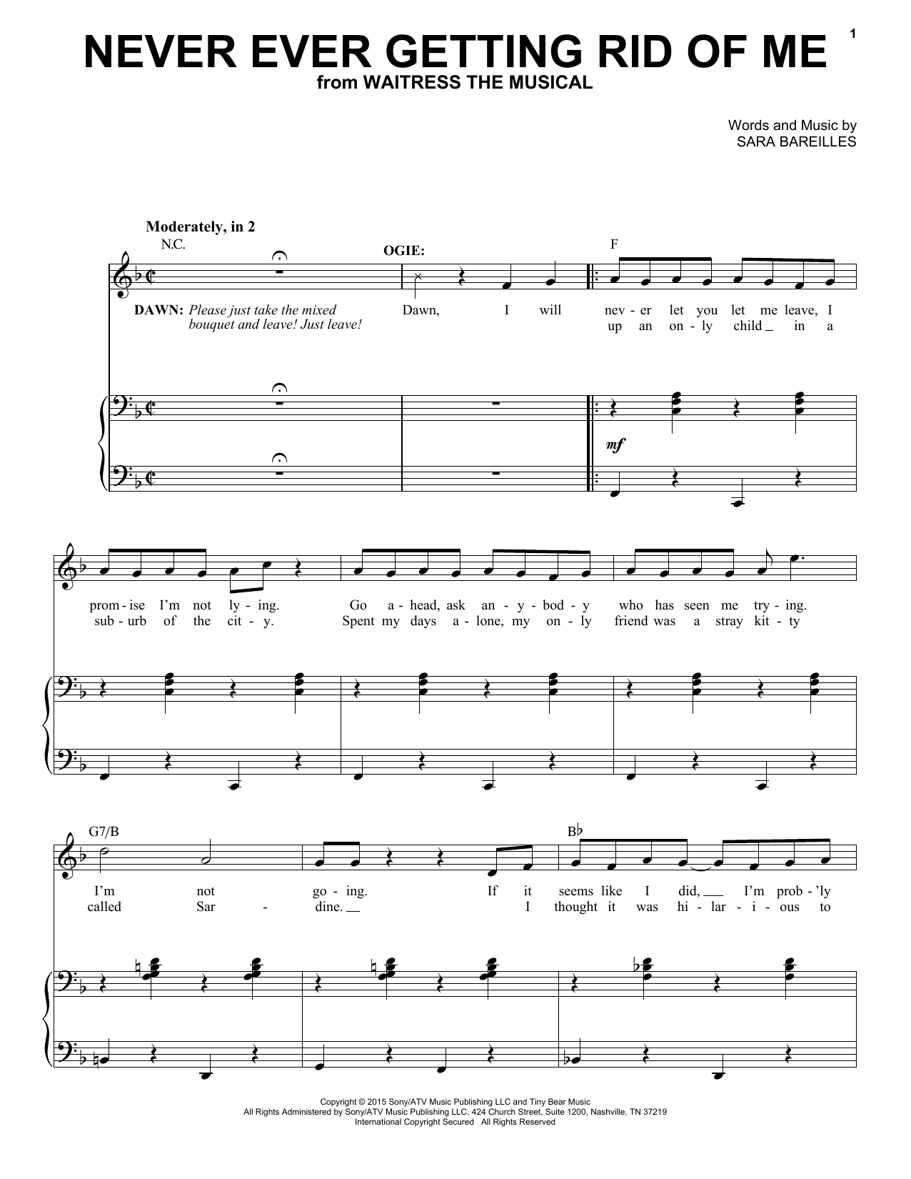 Never Ever Getting Rid Of Me (from Waitress The Musical) (Piano & Vocal)