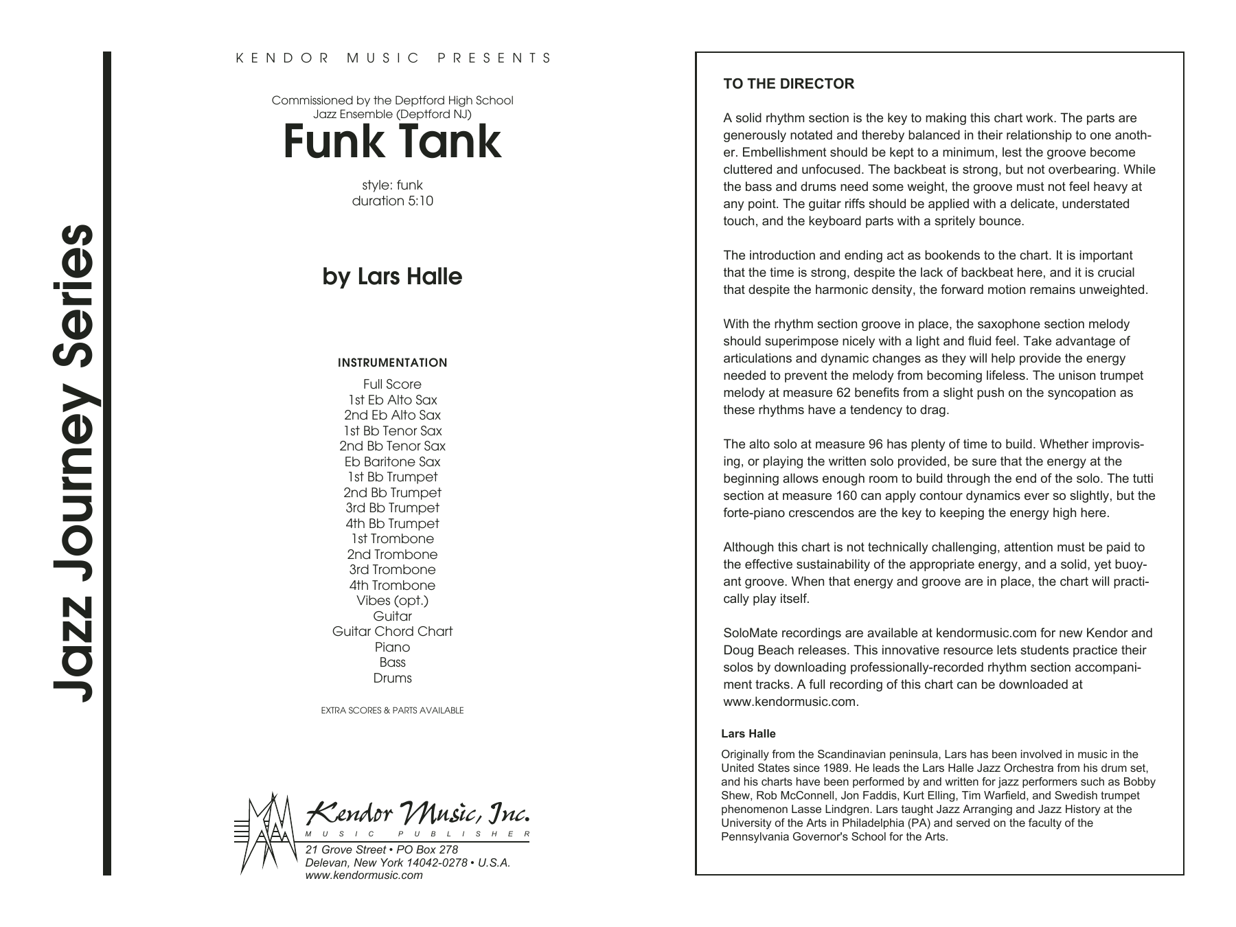 Funk Tank (COMPLETE) sheet music for jazz band by Lars Halle. Score Image Preview.