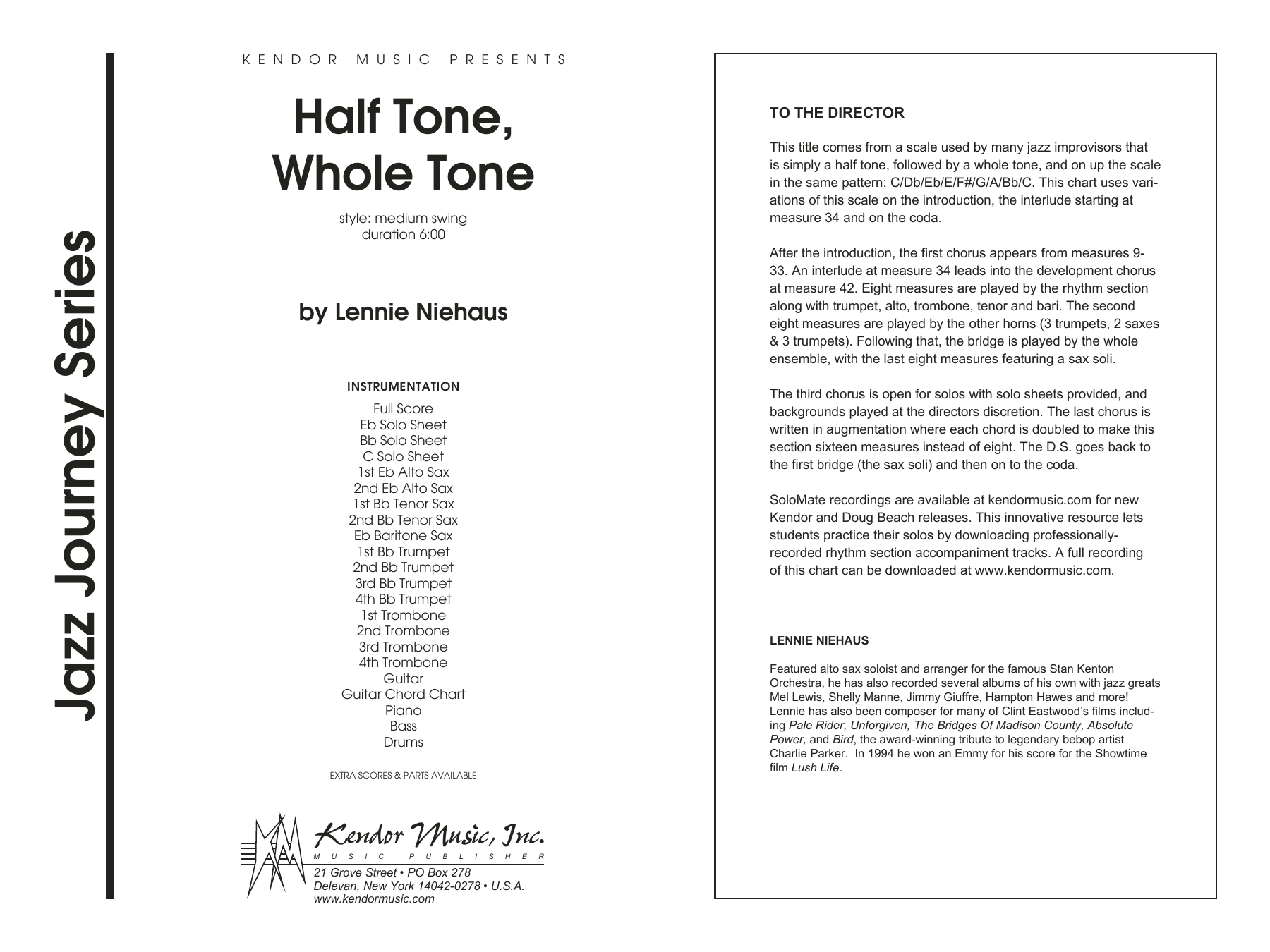 Half Tone, Whole Tone (COMPLETE) sheet music for jazz band by Lennie Niehaus. Score Image Preview.