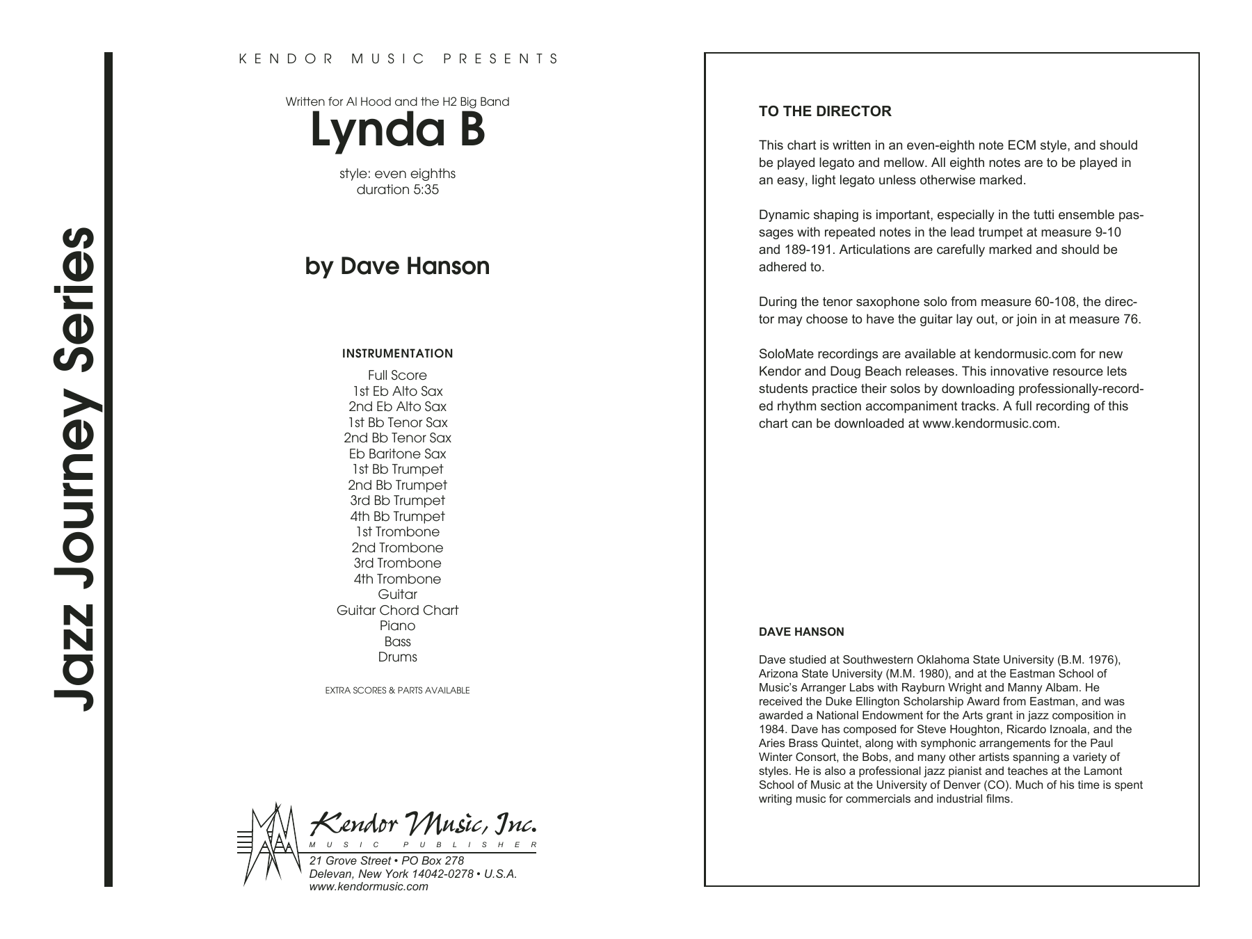 Lynda B (COMPLETE) sheet music for jazz band by David Hanson. Score Image Preview.