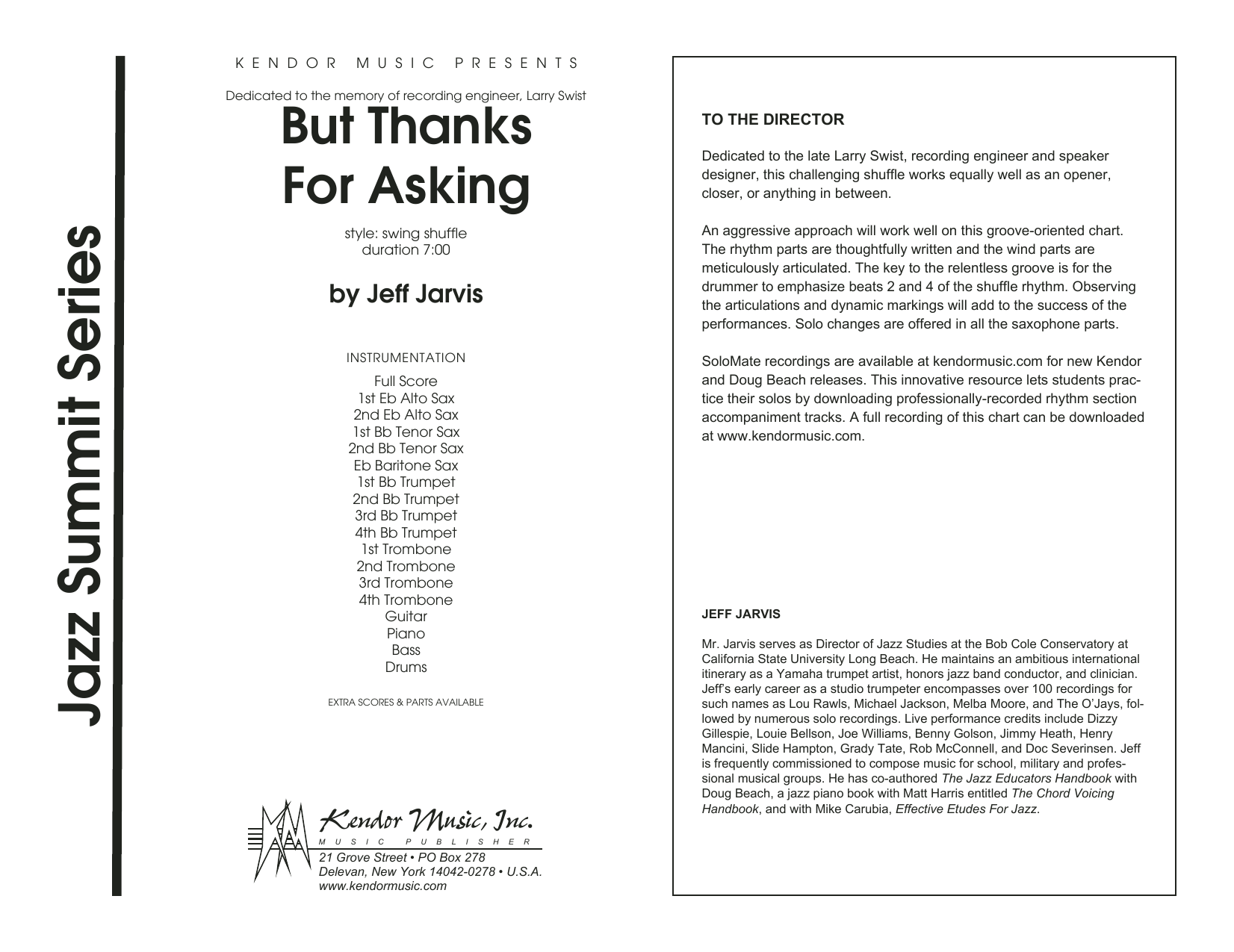 But Thanks For Asking (COMPLETE) sheet music for jazz band by Jeff Jarvis. Score Image Preview.