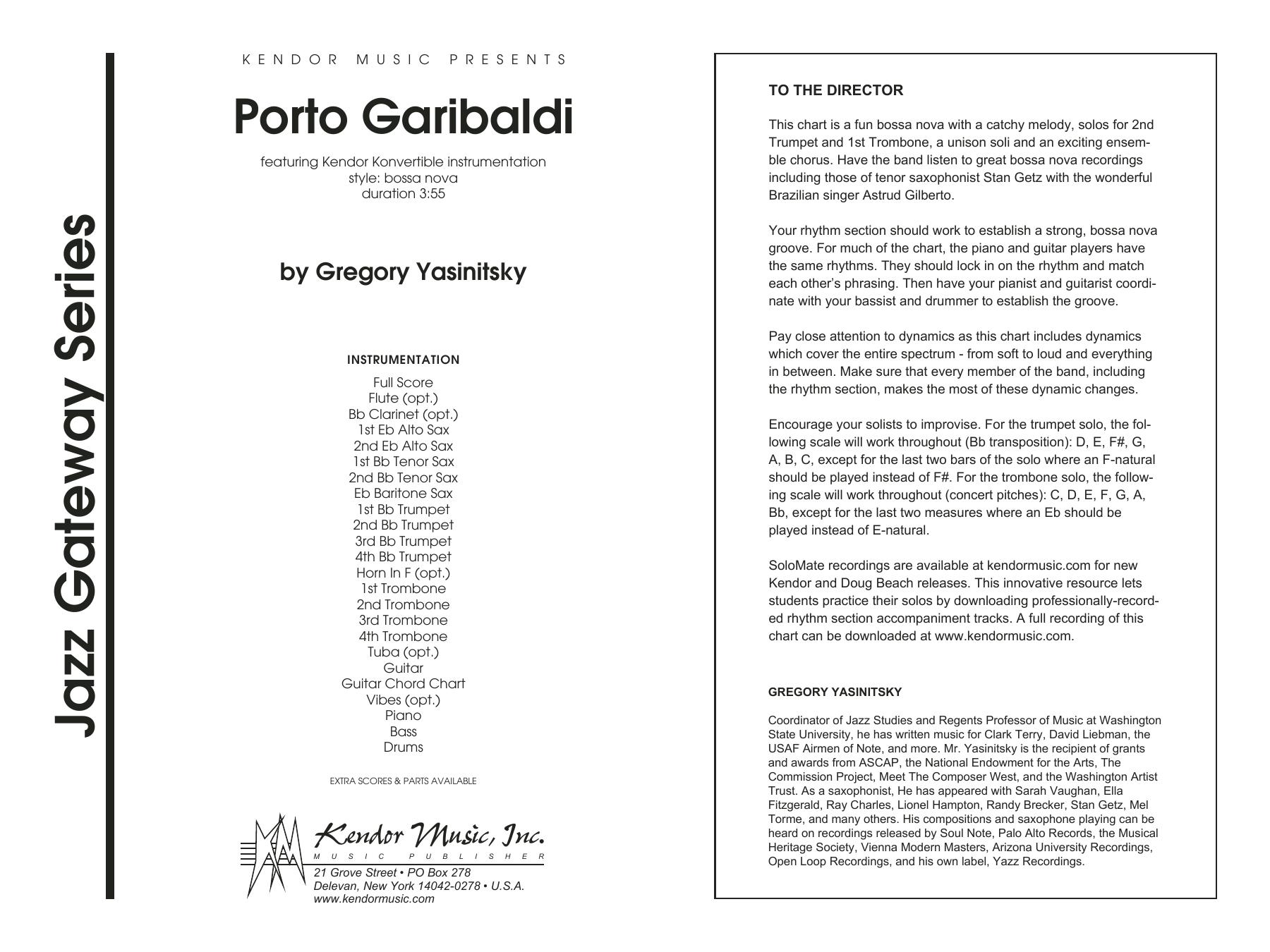 Porto Garibaldi (COMPLETE) sheet music for jazz band by Gregory Yasinitsky. Score Image Preview.