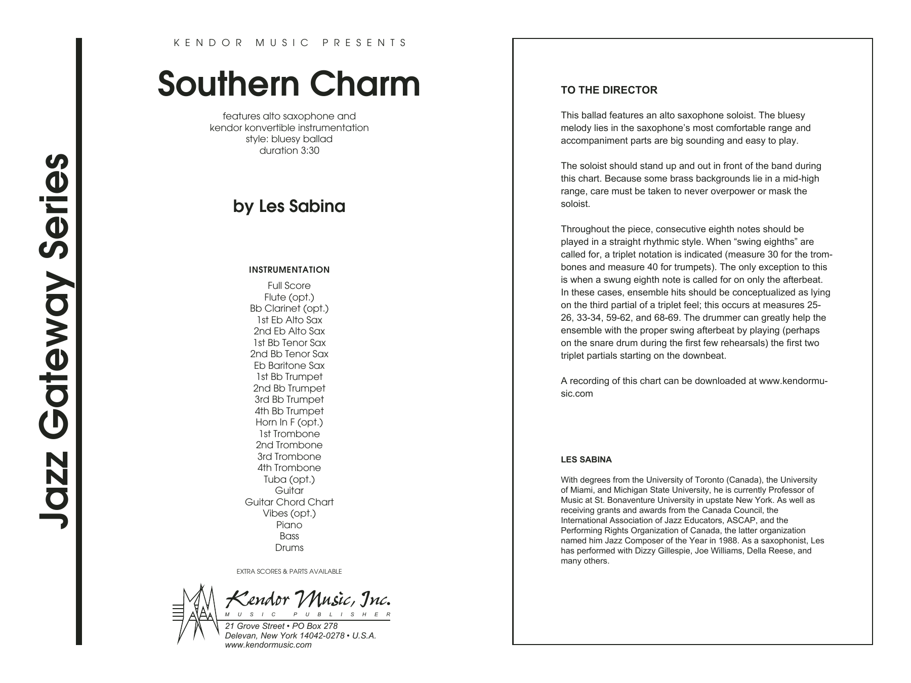 Southern Charm (COMPLETE) sheet music for jazz band by Les Sabina. Score Image Preview.