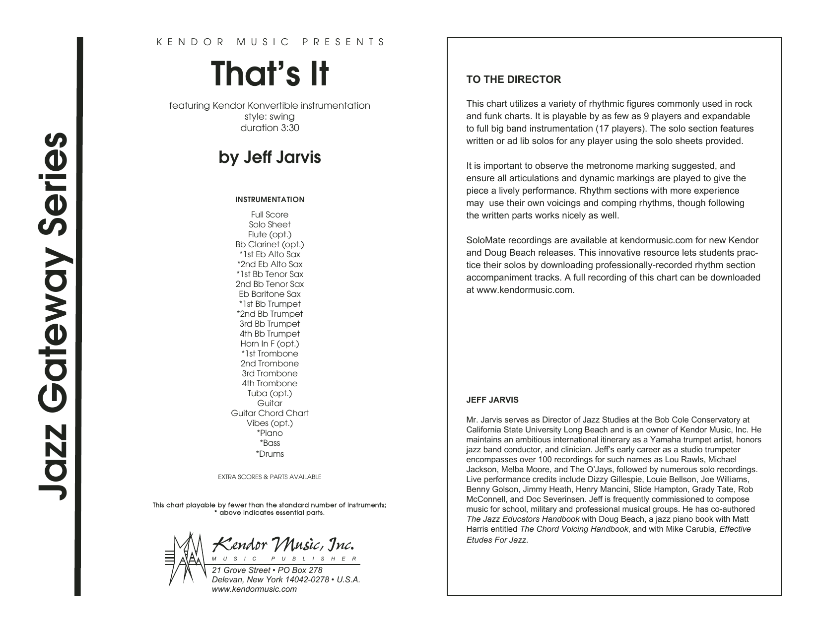 That's It (COMPLETE) sheet music for jazz band by Jeff Jarvis. Score Image Preview.