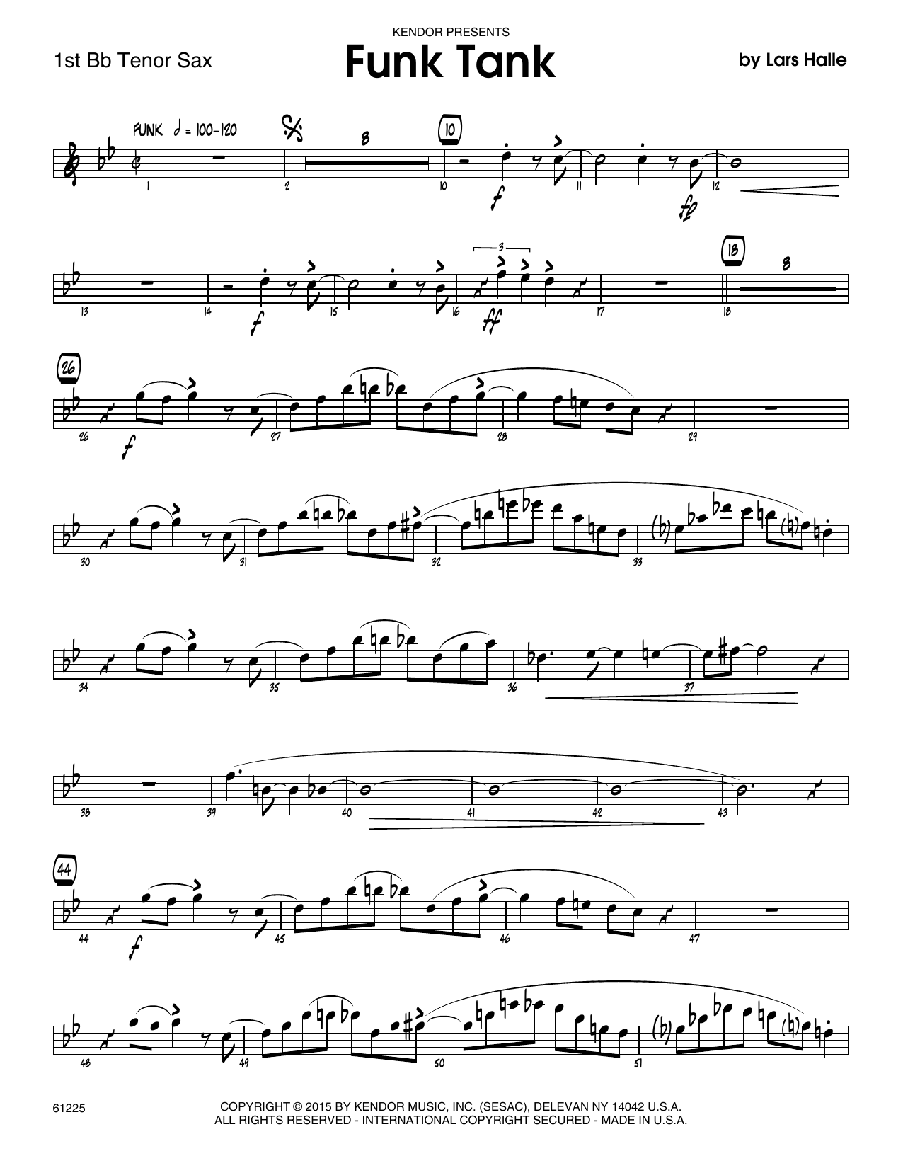 Funk Tank - 1st Tenor Saxophone Sheet Music