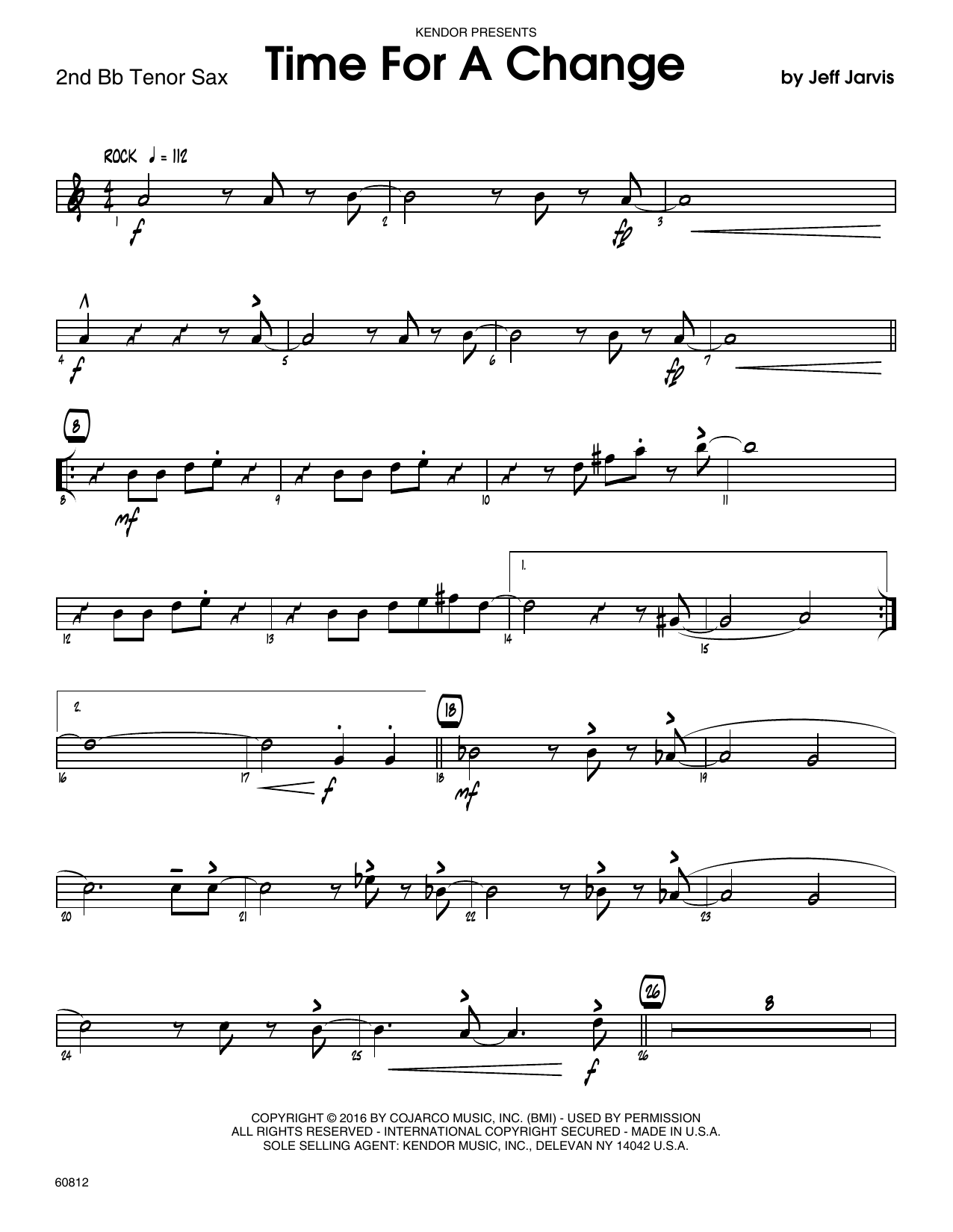 Time For A Change - 2nd Bb Tenor Saxophone Sheet Music