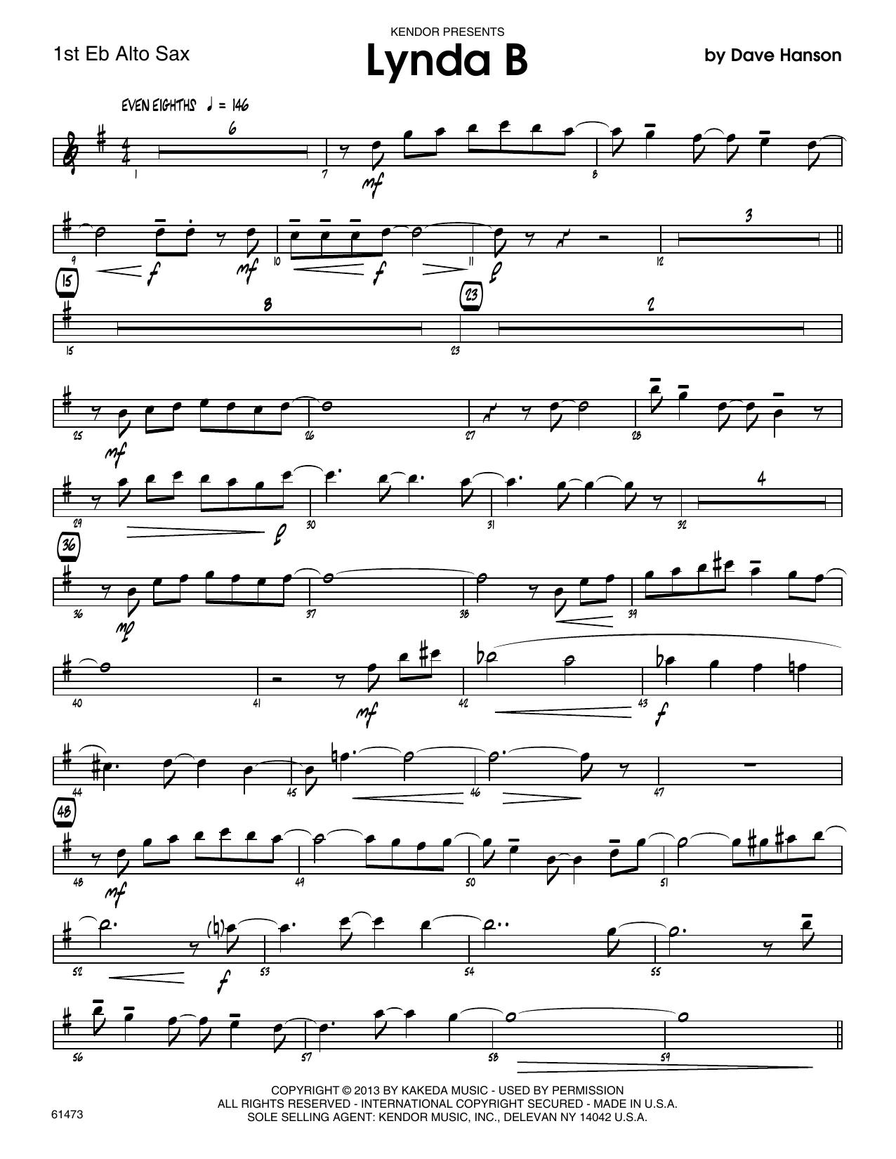 Lynda B - 1st Eb Alto Saxophone Sheet Music