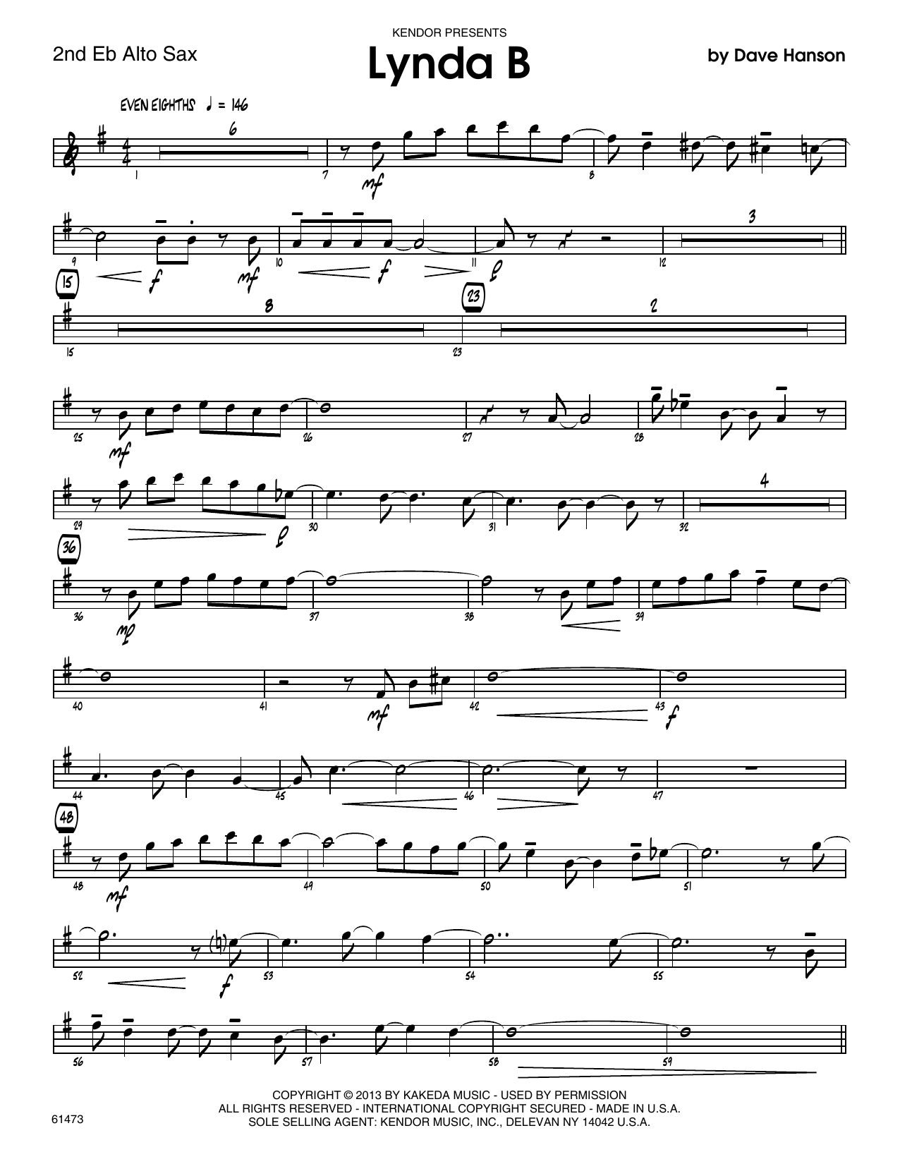 Lynda B - 2nd Eb Alto Saxophone Sheet Music