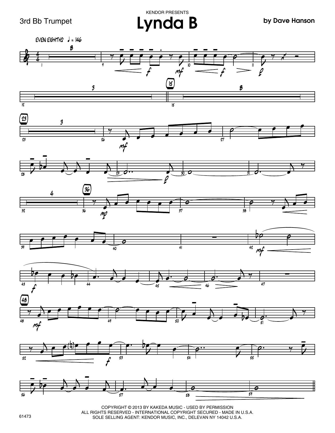 Lynda B - 3rd Bb Trumpet Sheet Music