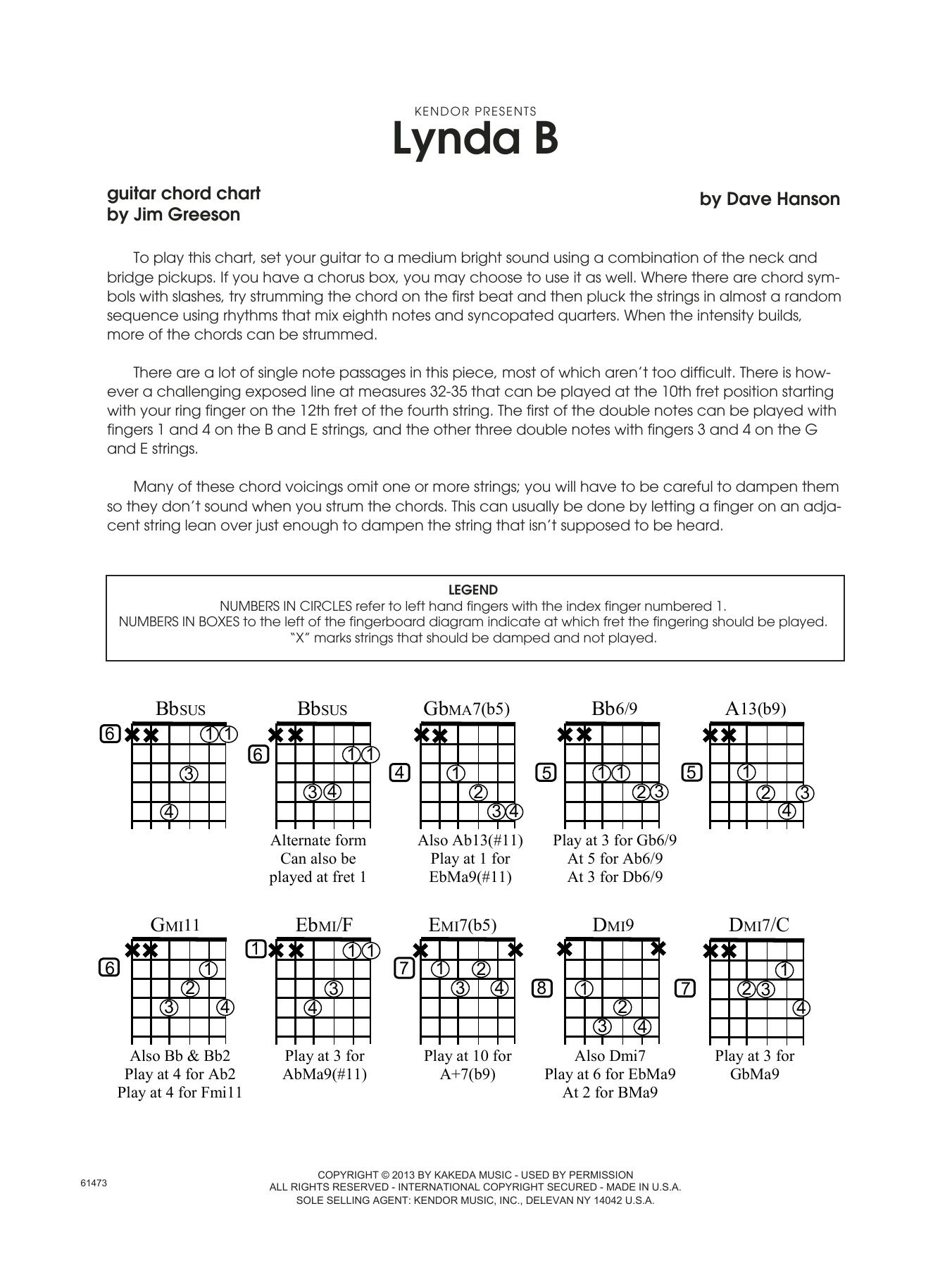 Lynda B - Guitar Chord Chart Sheet Music