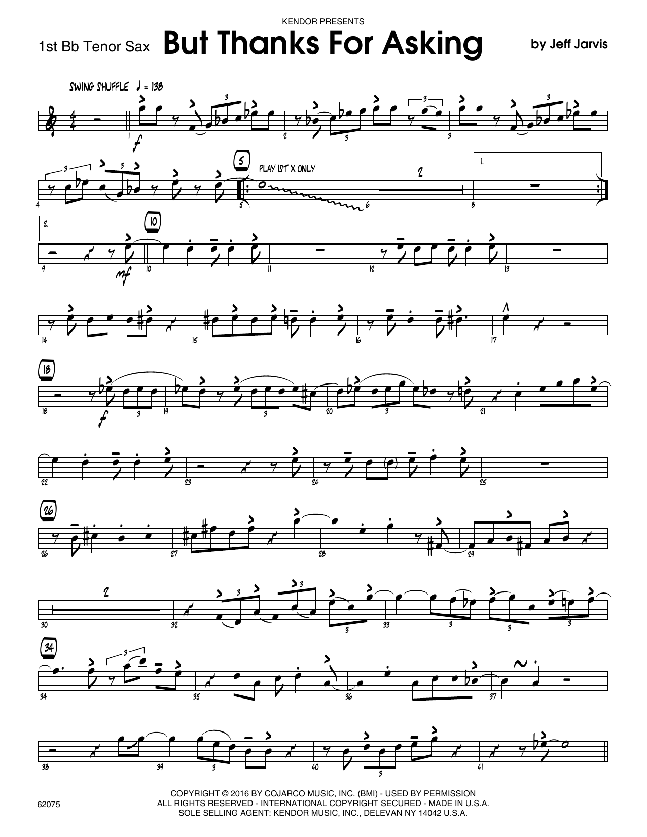 But Thanks For Asking - 1st Tenor Saxophone Sheet Music