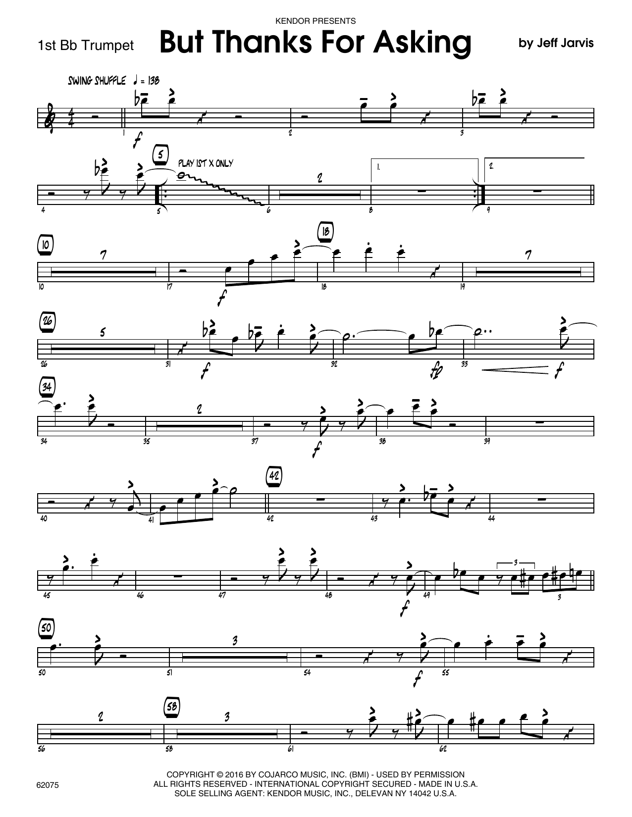 But Thanks For Asking - 1st Bb Trumpet Sheet Music