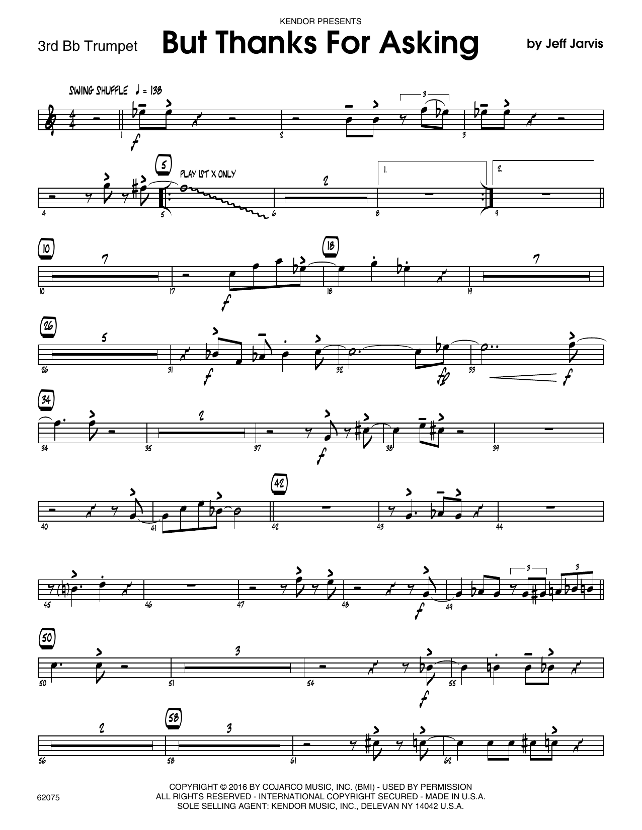 But Thanks For Asking - 3rd Bb Trumpet Sheet Music
