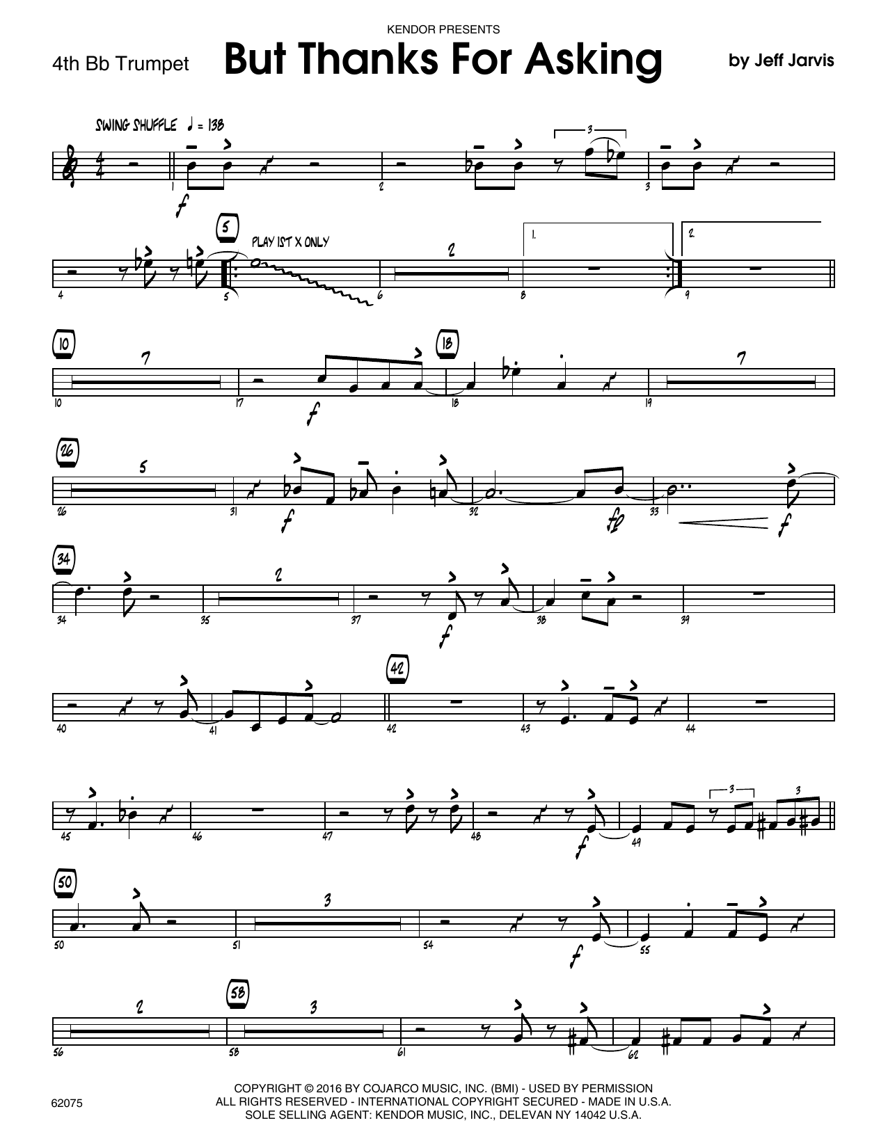 But Thanks For Asking - 4th Bb Trumpet Sheet Music